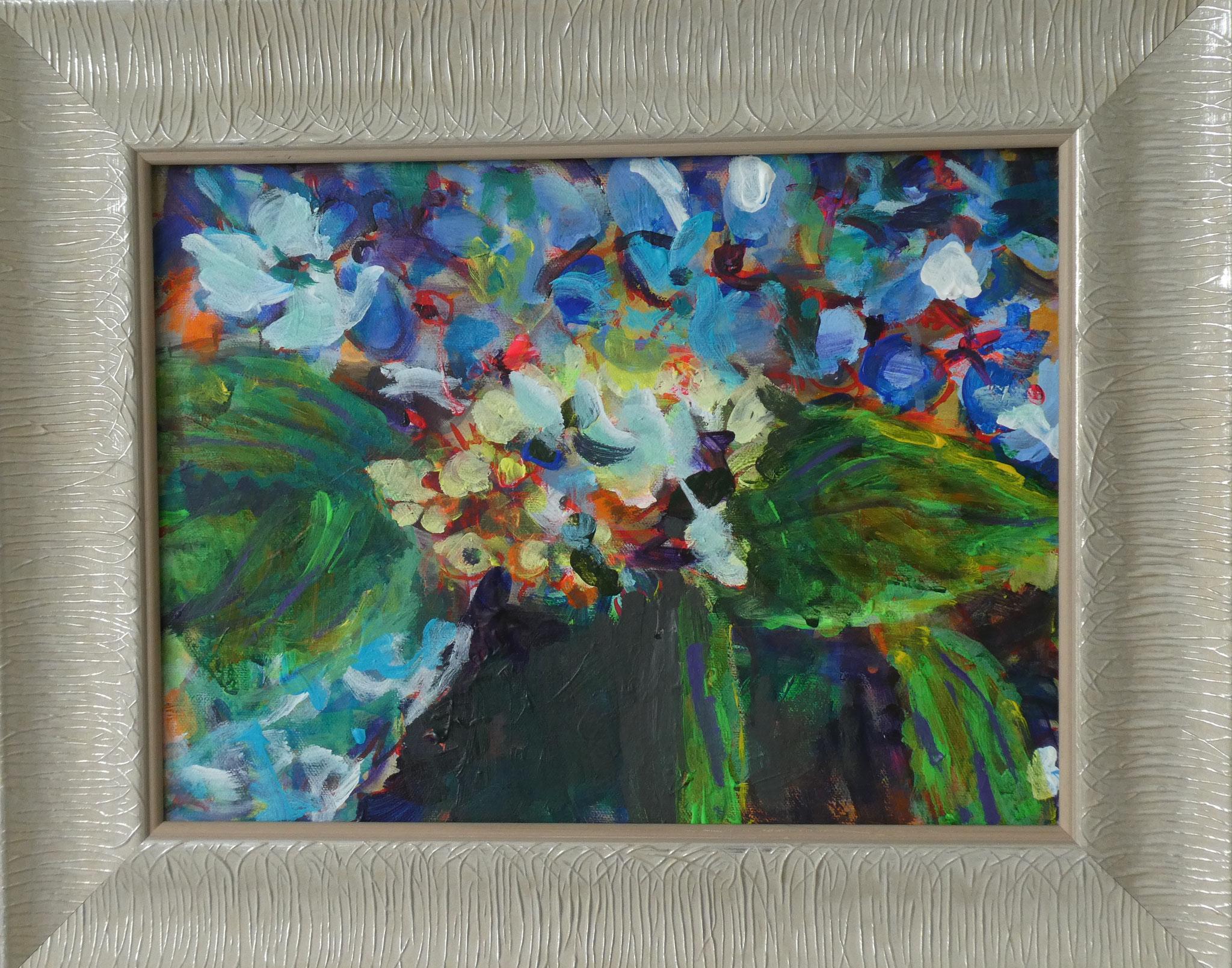 Hortensien 7,  30x40,  acrylic on canvas