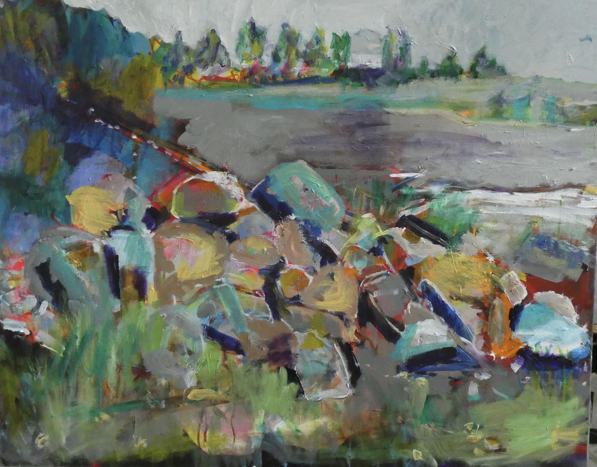 Steine 3, 100x120, acrylic on canvas