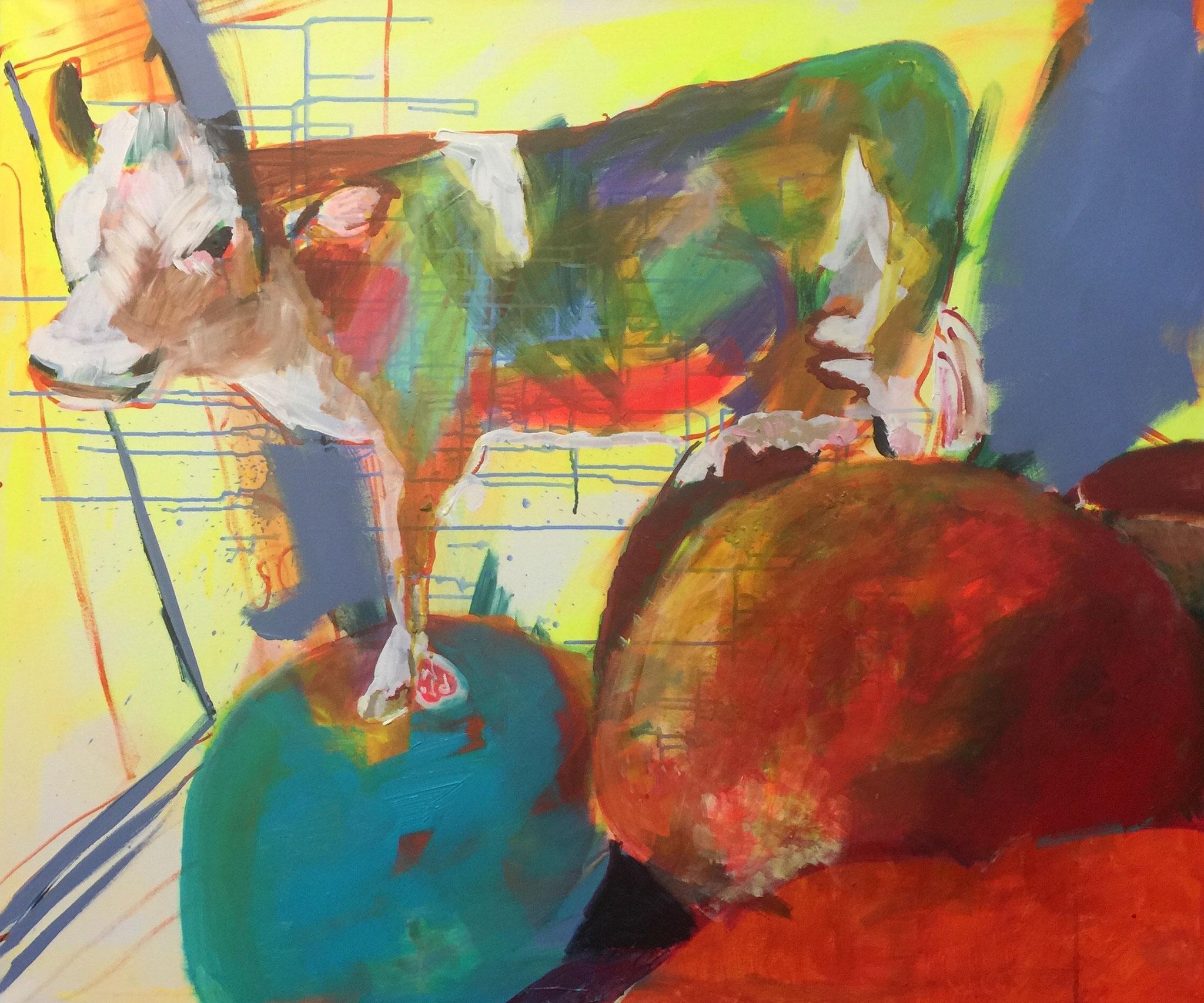 Stillleben mit Kuh 2, 100x120,  acrylic on canvas