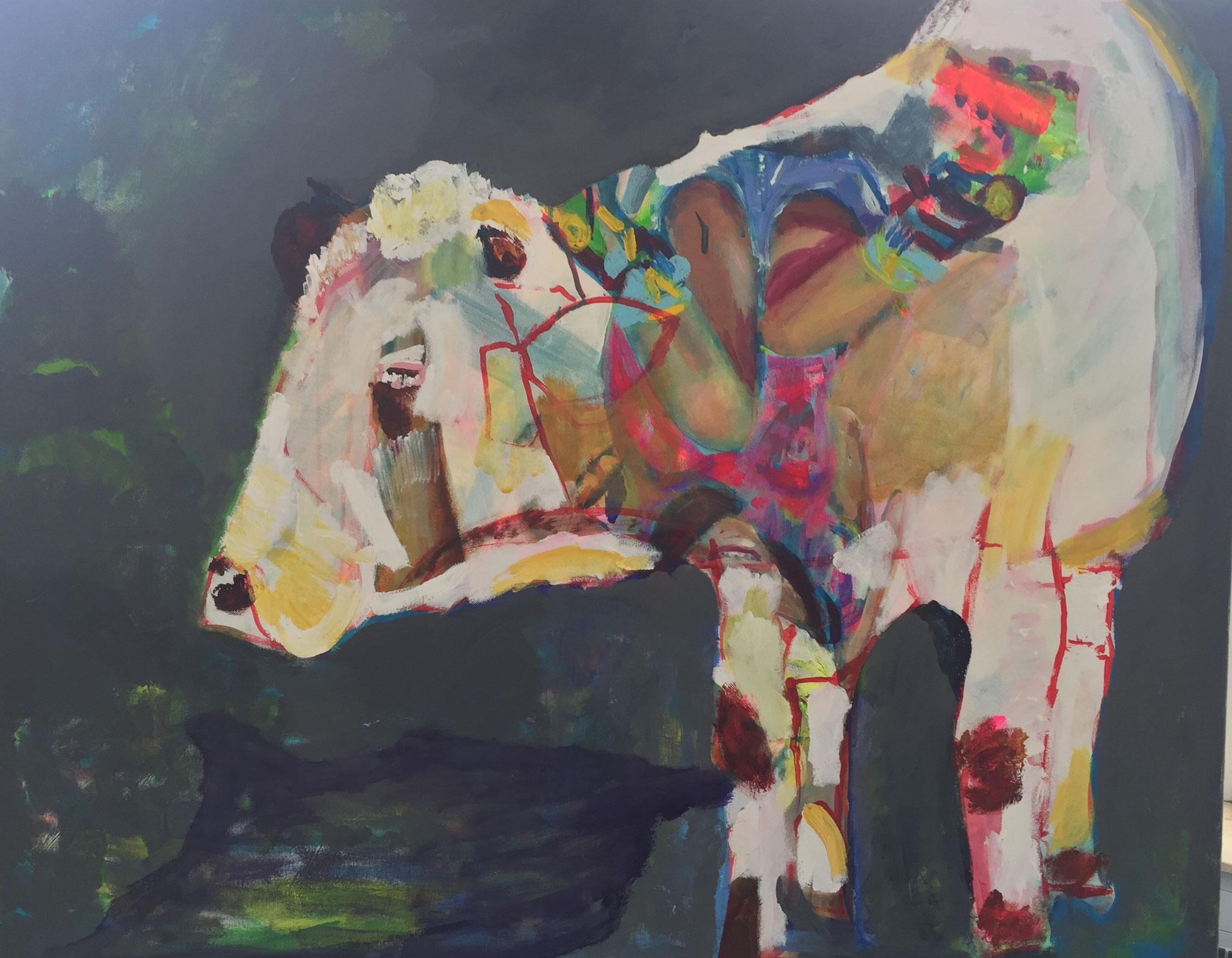 Gehörnt 4, 80x100, acrylic on canvas