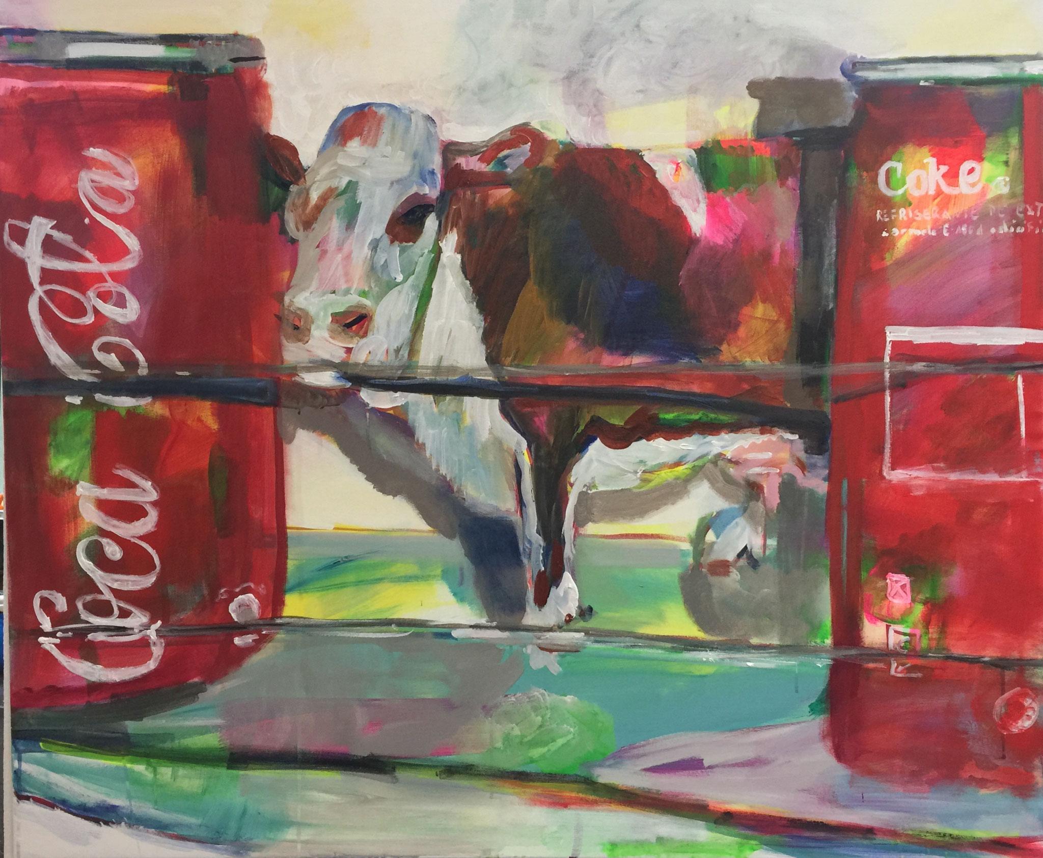Stillleben mit Kuh 1, 100x120,  acrylic on canvas
