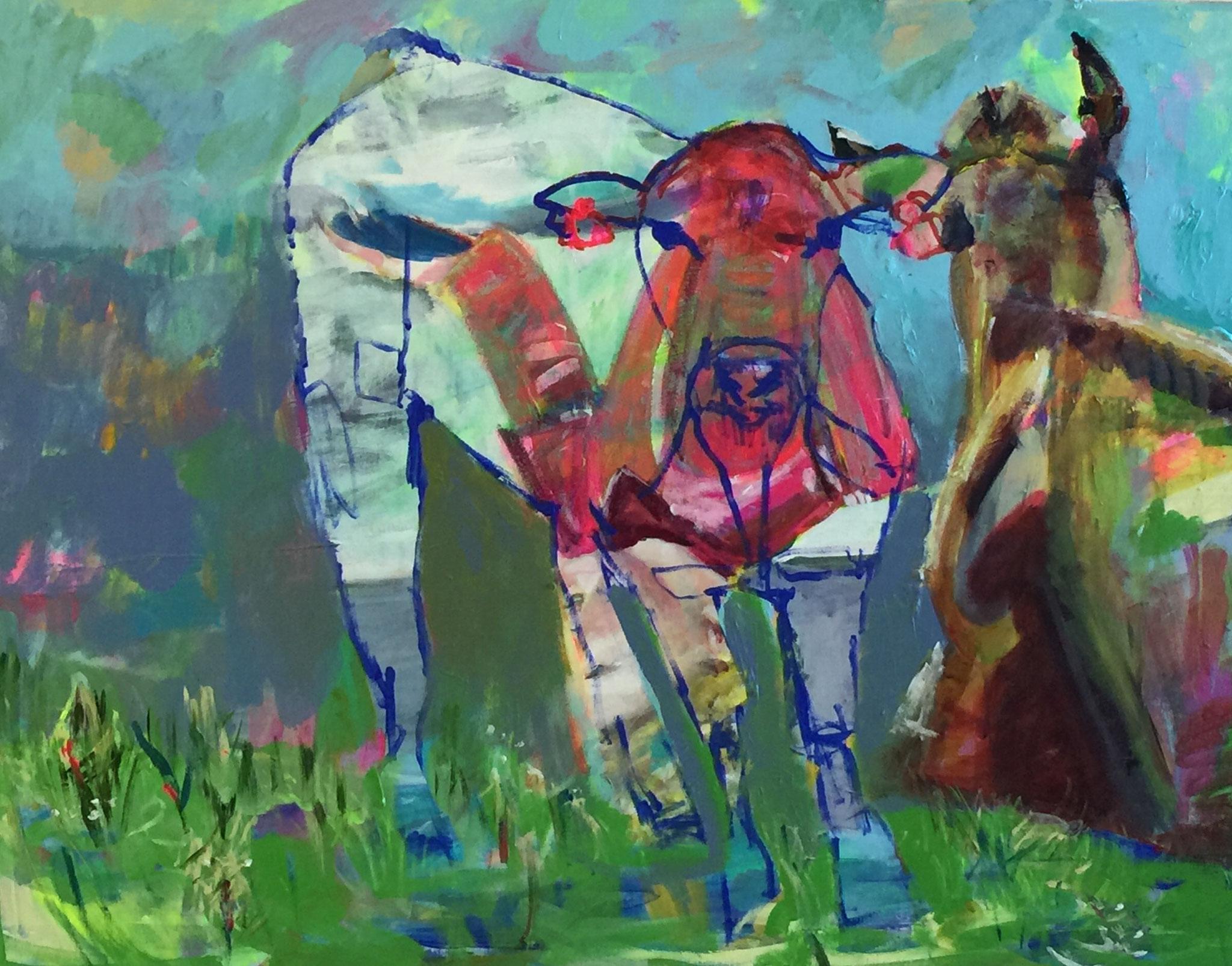 Gehörnt 3, 80x100 acrylic on canvas