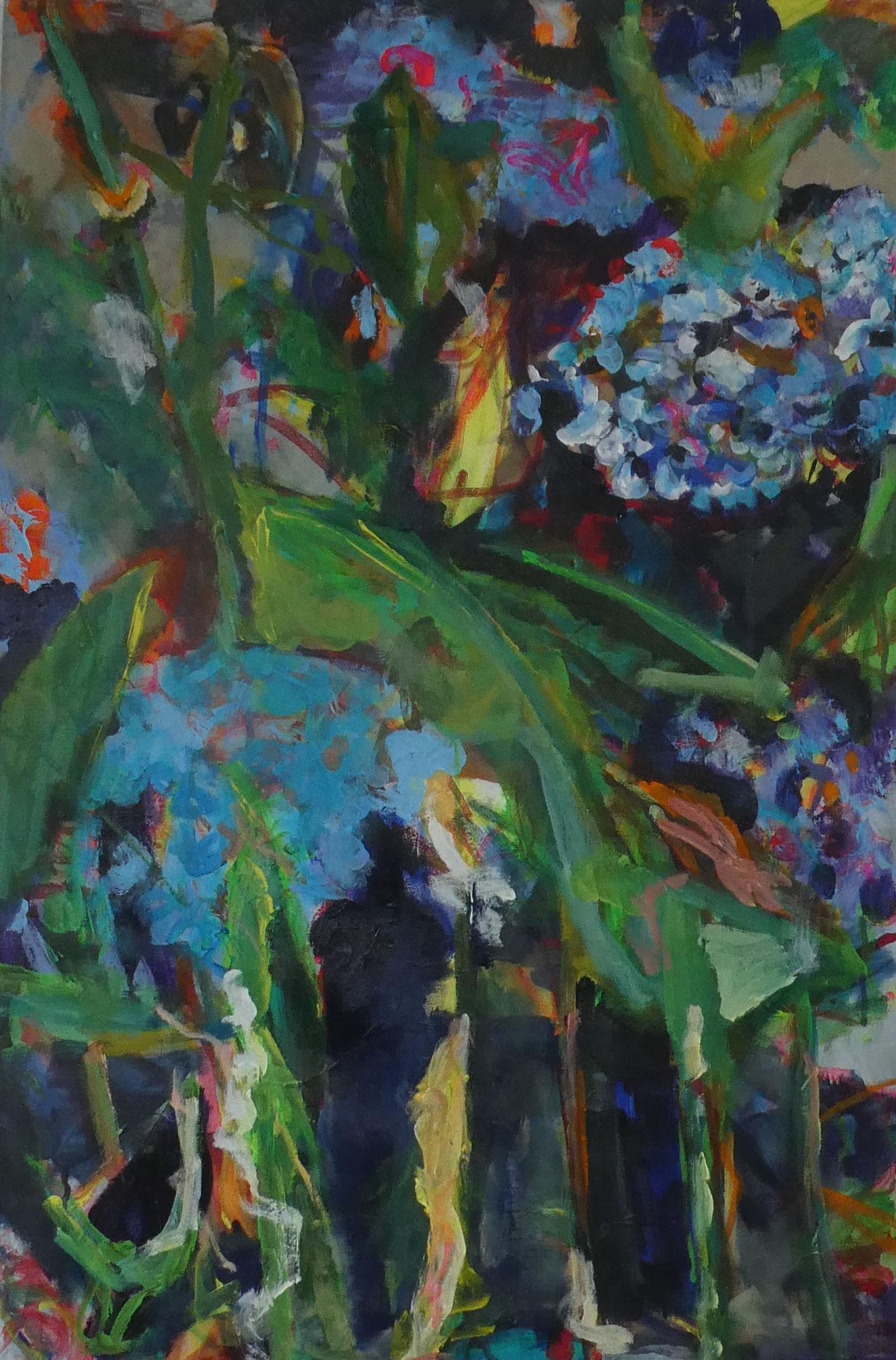 Hortensien 4,  90x60,  acrylic on canvas