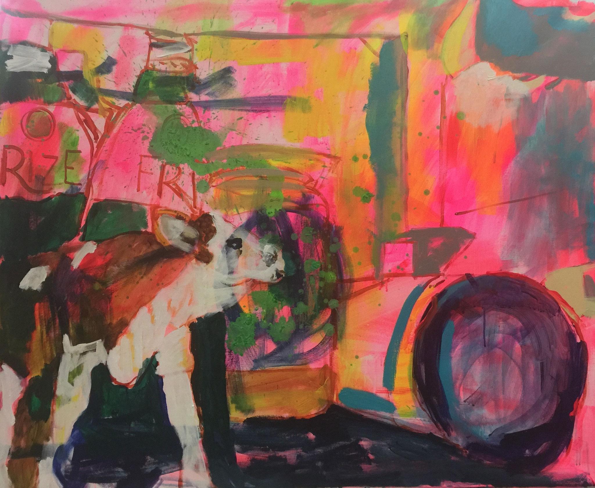 Stillleben mit Kuh 4, 100x120,  acrylic on canvas