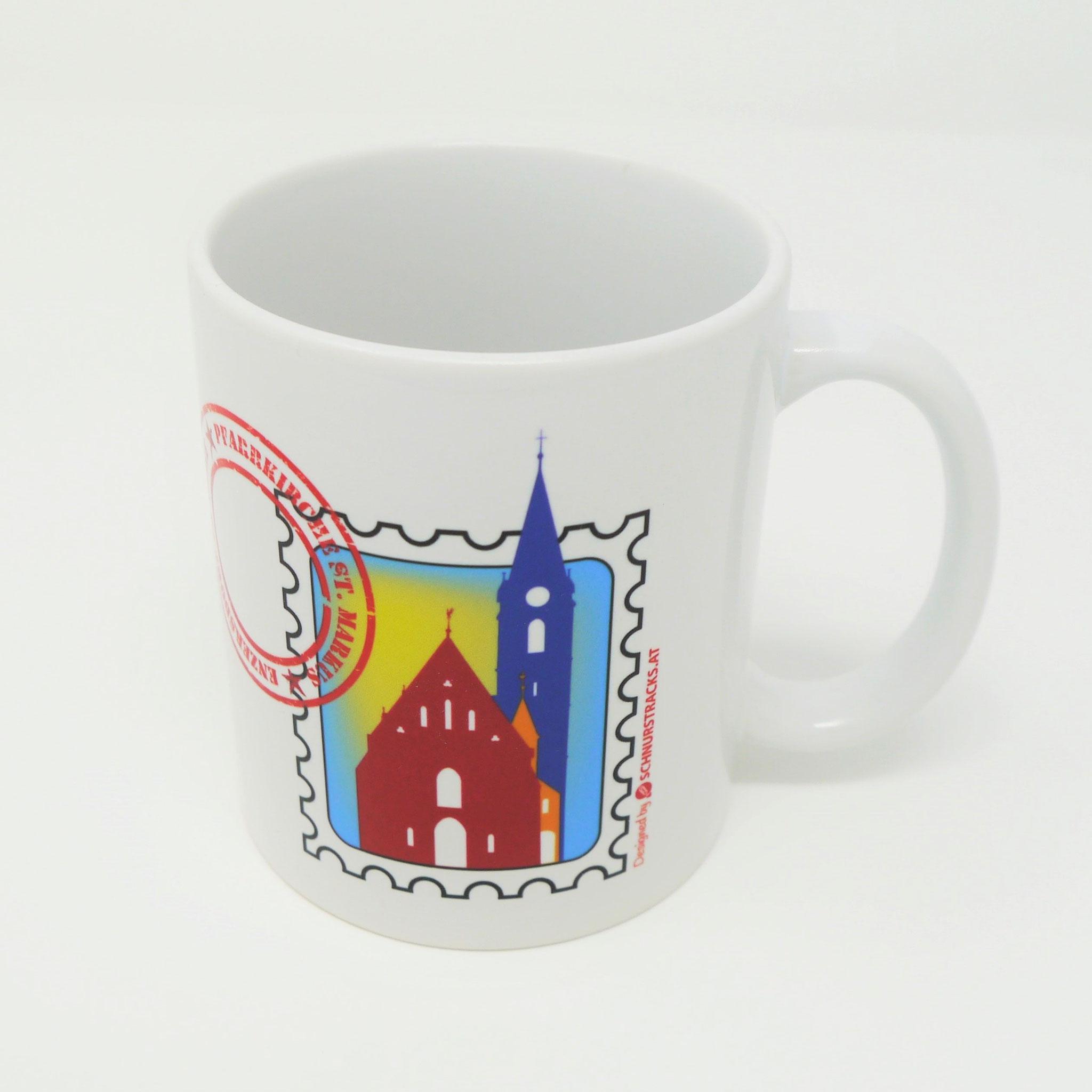 """""""Baustein""""-Tasse der Pfarrkirche St. Markus in Form einer Briefmarke"""