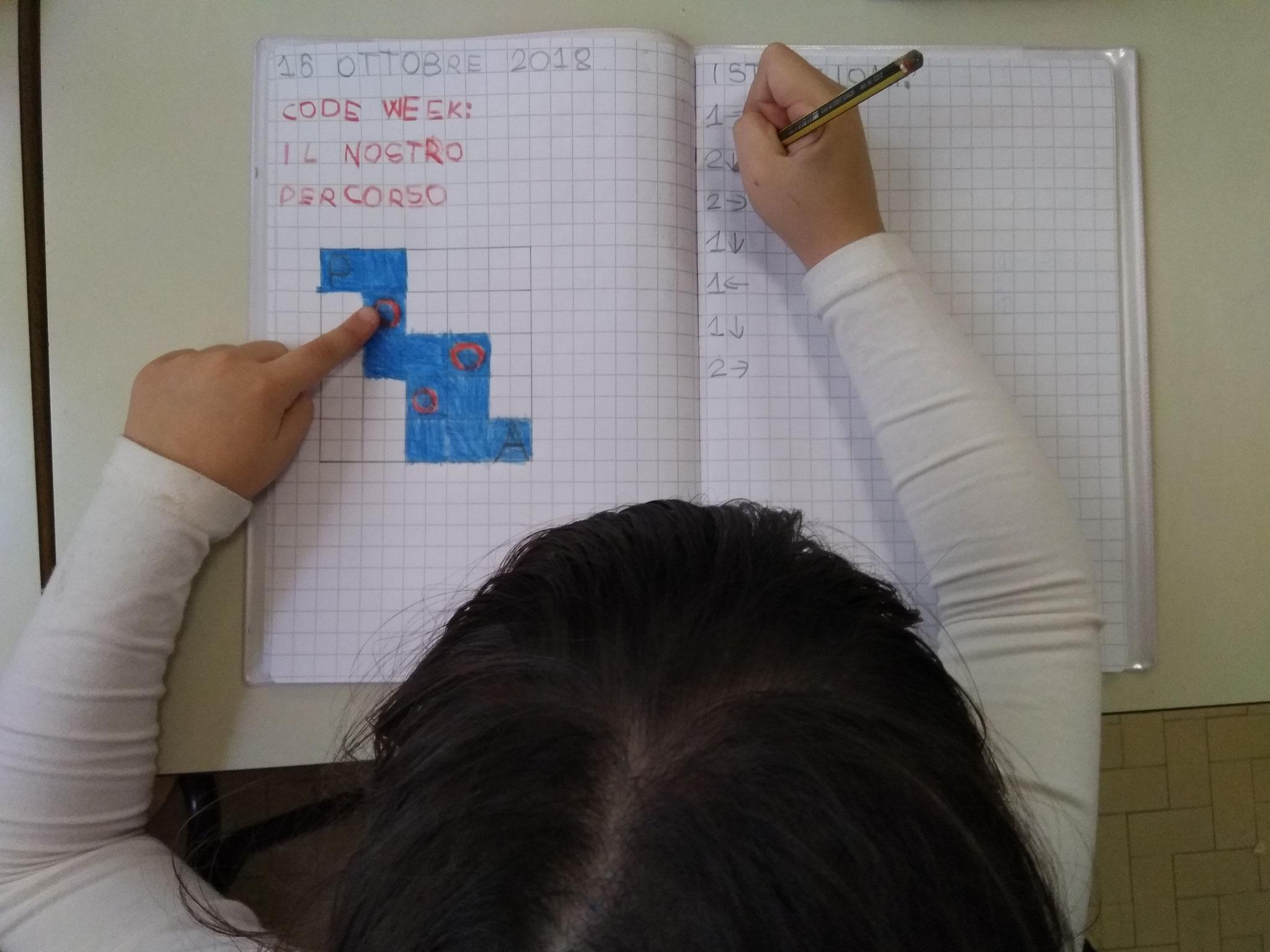 PRIMA - percorso sviluppato sia in palestra che sul quaderno di matematica seguendo un algoritmo dato