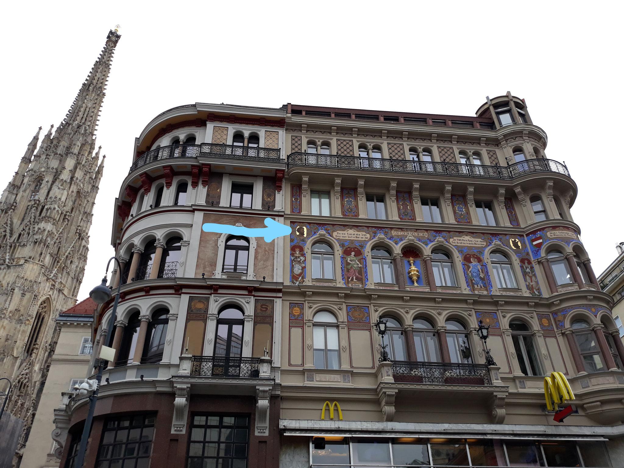 Marco Aurelio:ritratto in centro destra, Stock im Eisen Platz