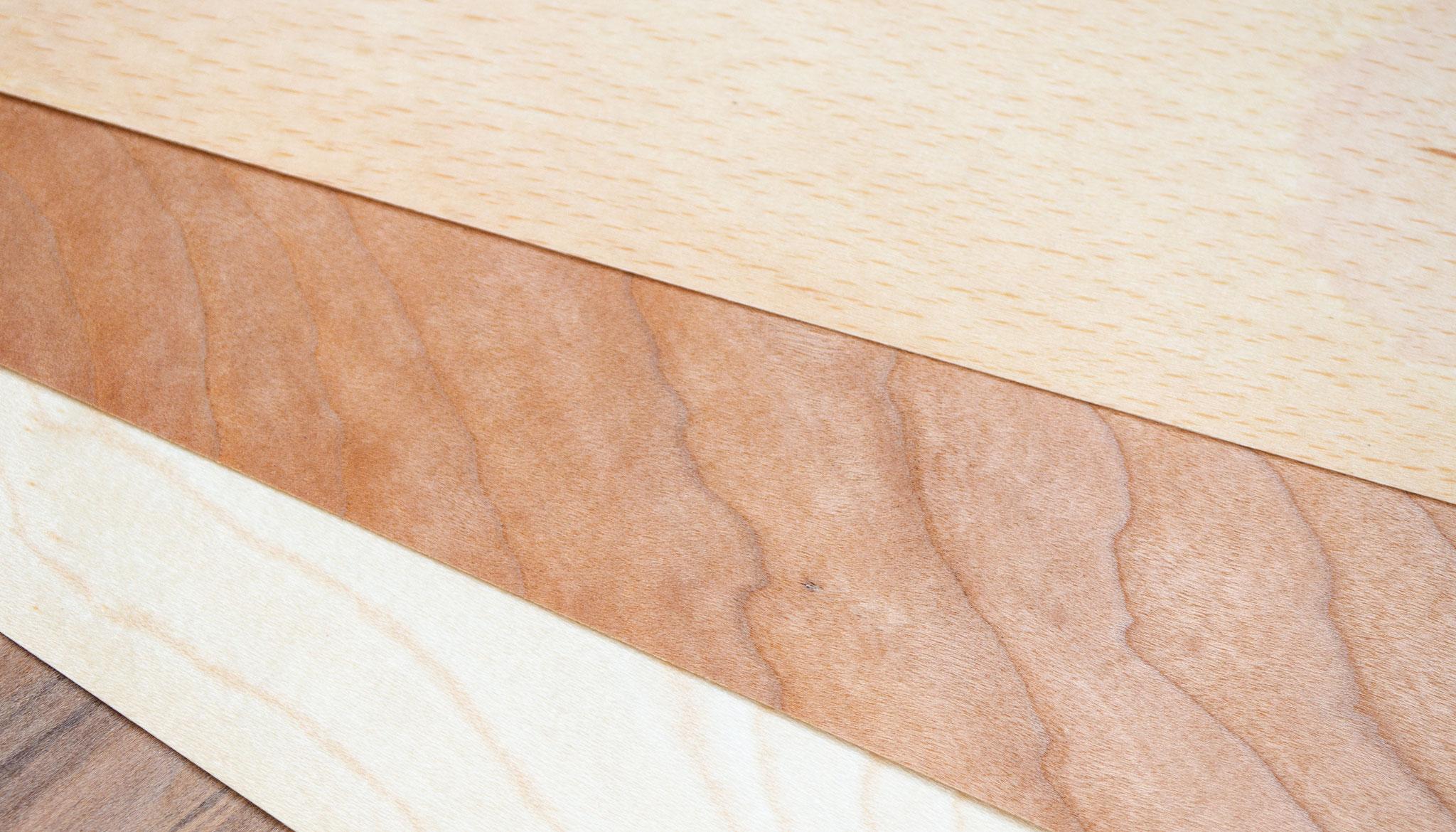 Echtholz ist in verschiedenen Sorten erhältlich