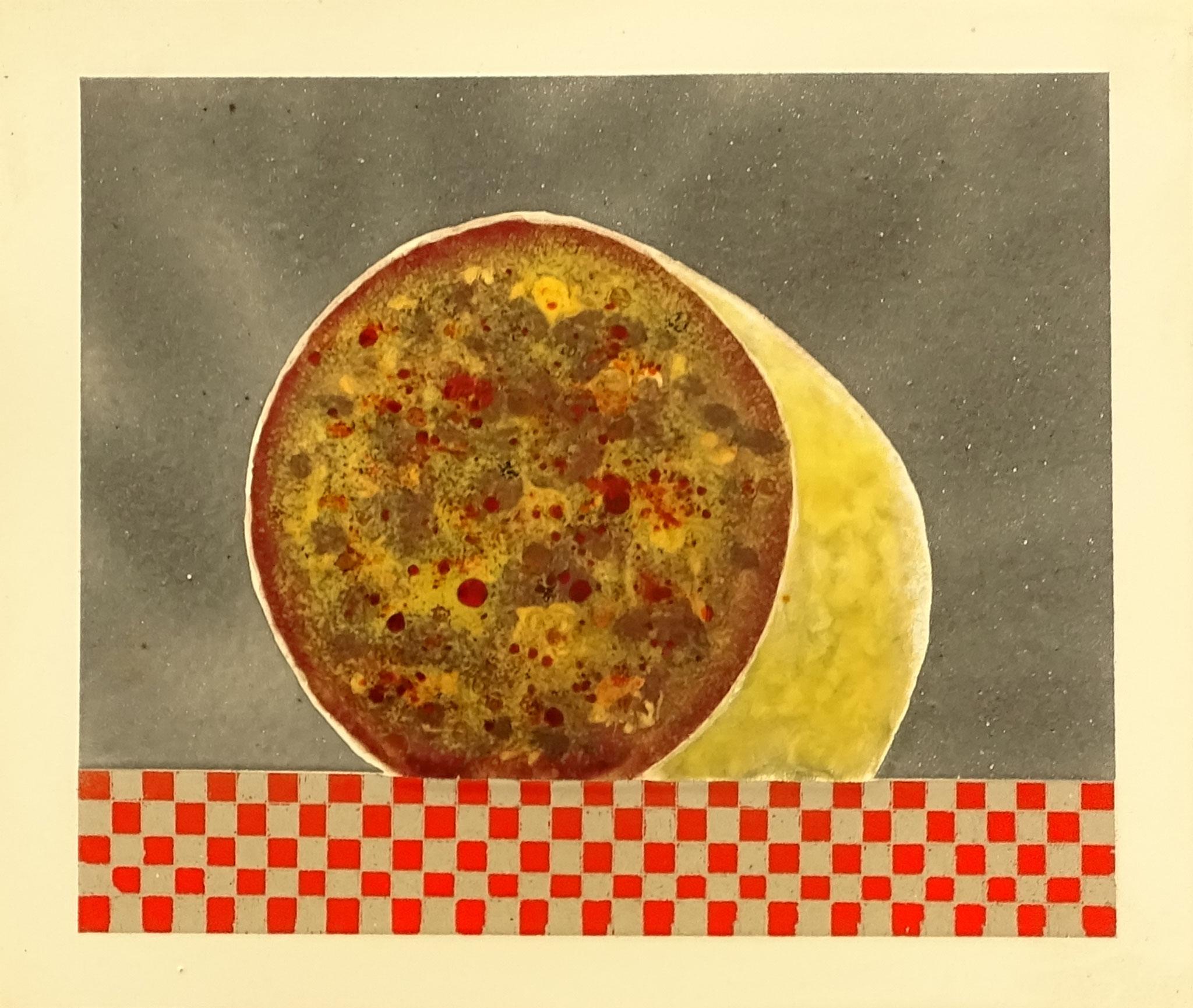 """""""Wurst"""" 2015, 27 x 23,5 cm, opakes und transp. Email, 6 Brände"""
