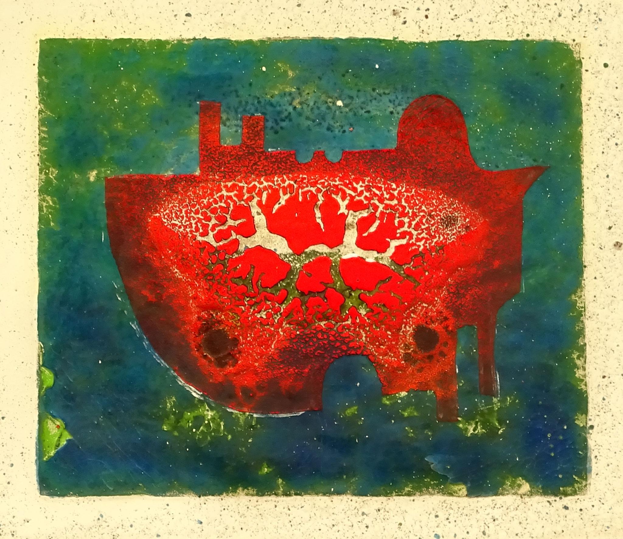 """""""U-Boot"""" 2014, 27 x 23,5 cm, opakes Email, 6 Brände"""