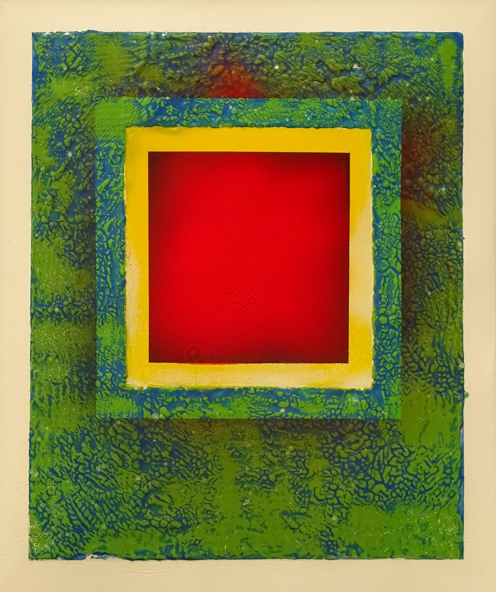 """Rotes Quadrat auf Grün"" 2015, 50 x 57 cm, opakes Email, 6 Brände"