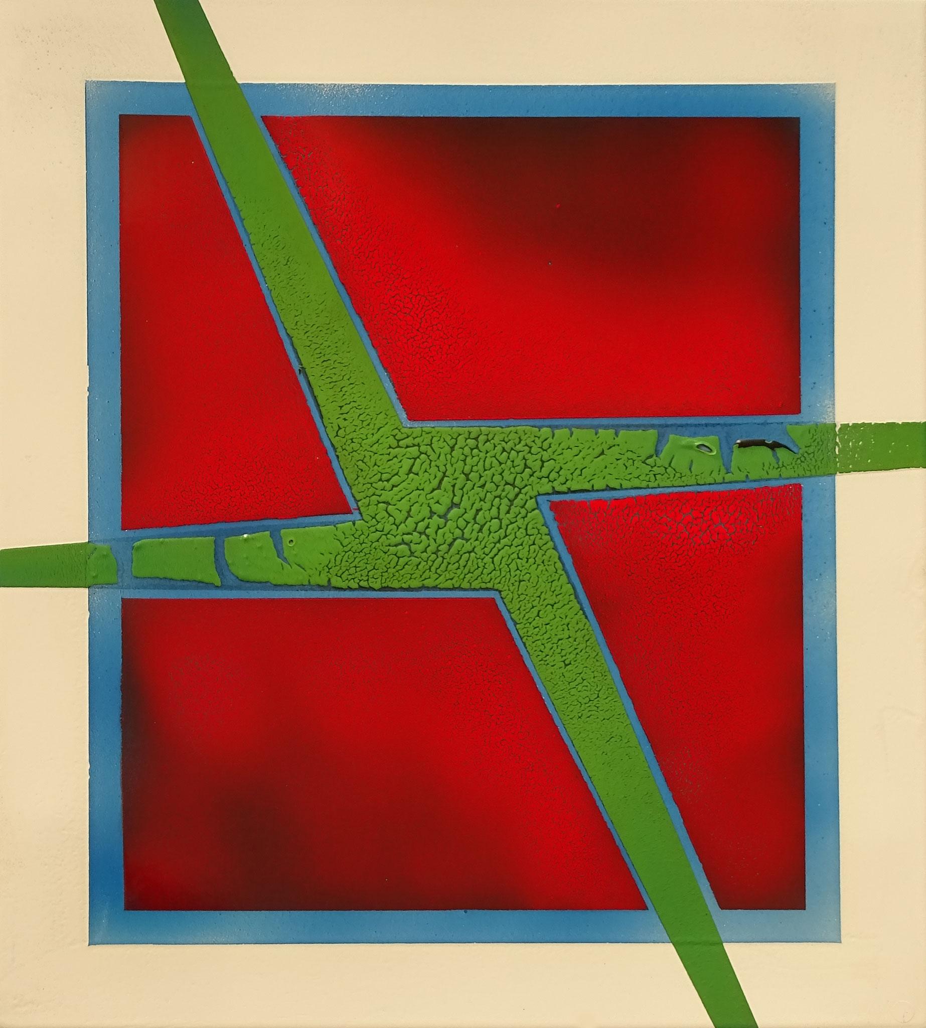 """Grünes Kreuz"" 2015, 50 x 57 cm, opakes Email"