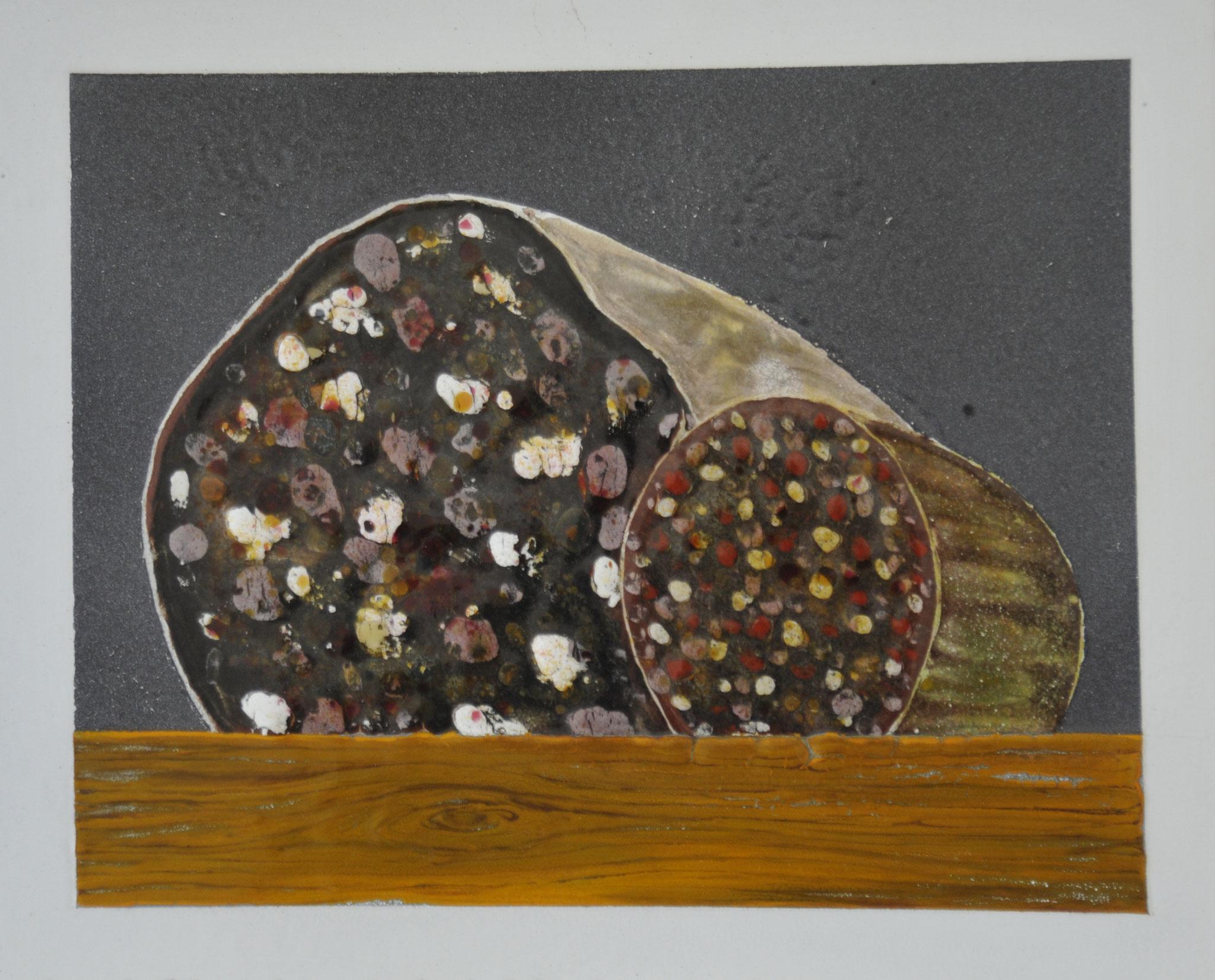 """""""Wurst"""" 2015, 27 x 23,5 cm, opakes und transp. Email, 5 Brände"""