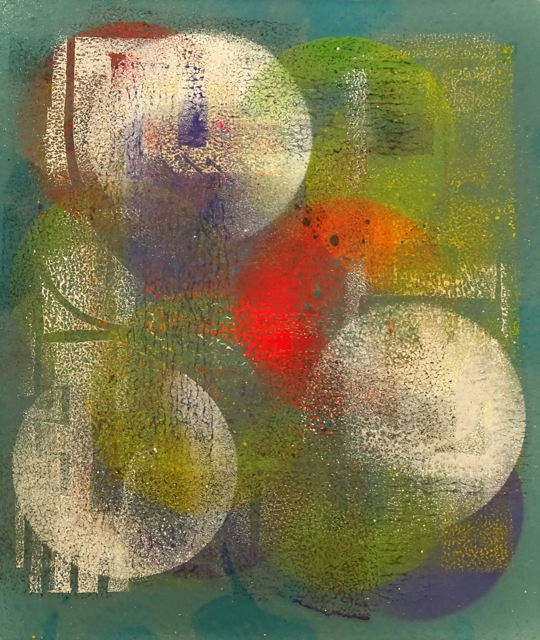 """Kreise"" 2015, 23,5 x 27 cm, opakes Email"