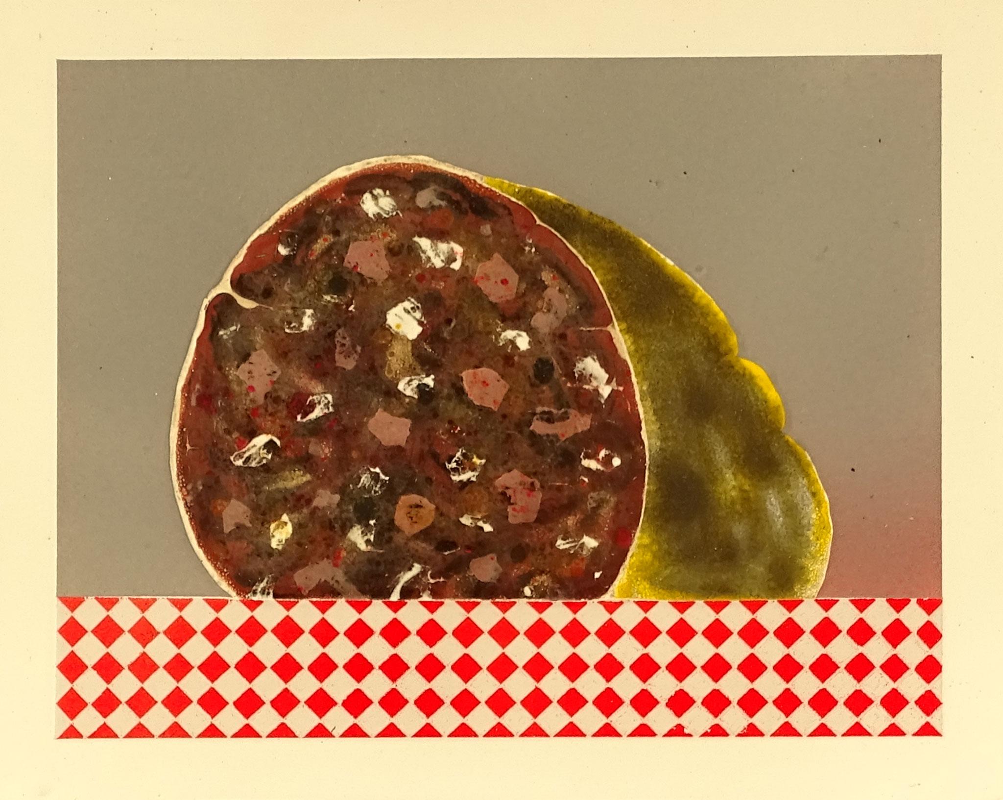"""""""Wurst"""" 2015, 27 x 23 cm, opakes und transp. Email, 7 Brände"""