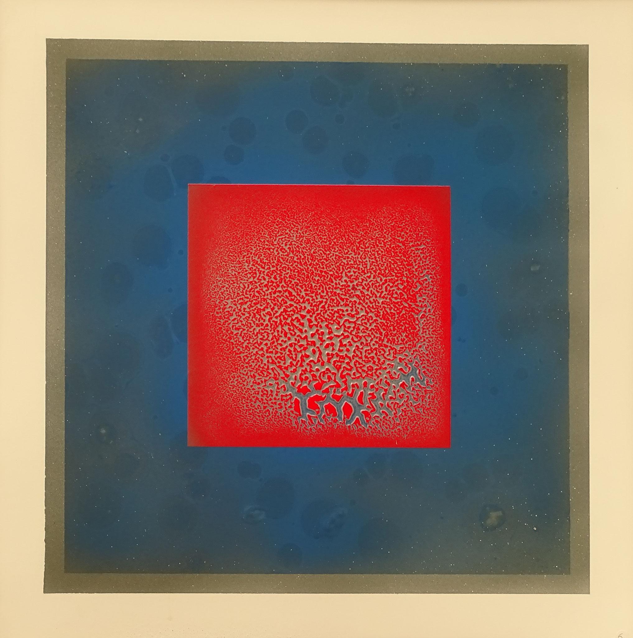 """""""Rotes Quadrat auf Blau"""" 2015, 50 x 57 cm, opakes Email, 5 Brände"""