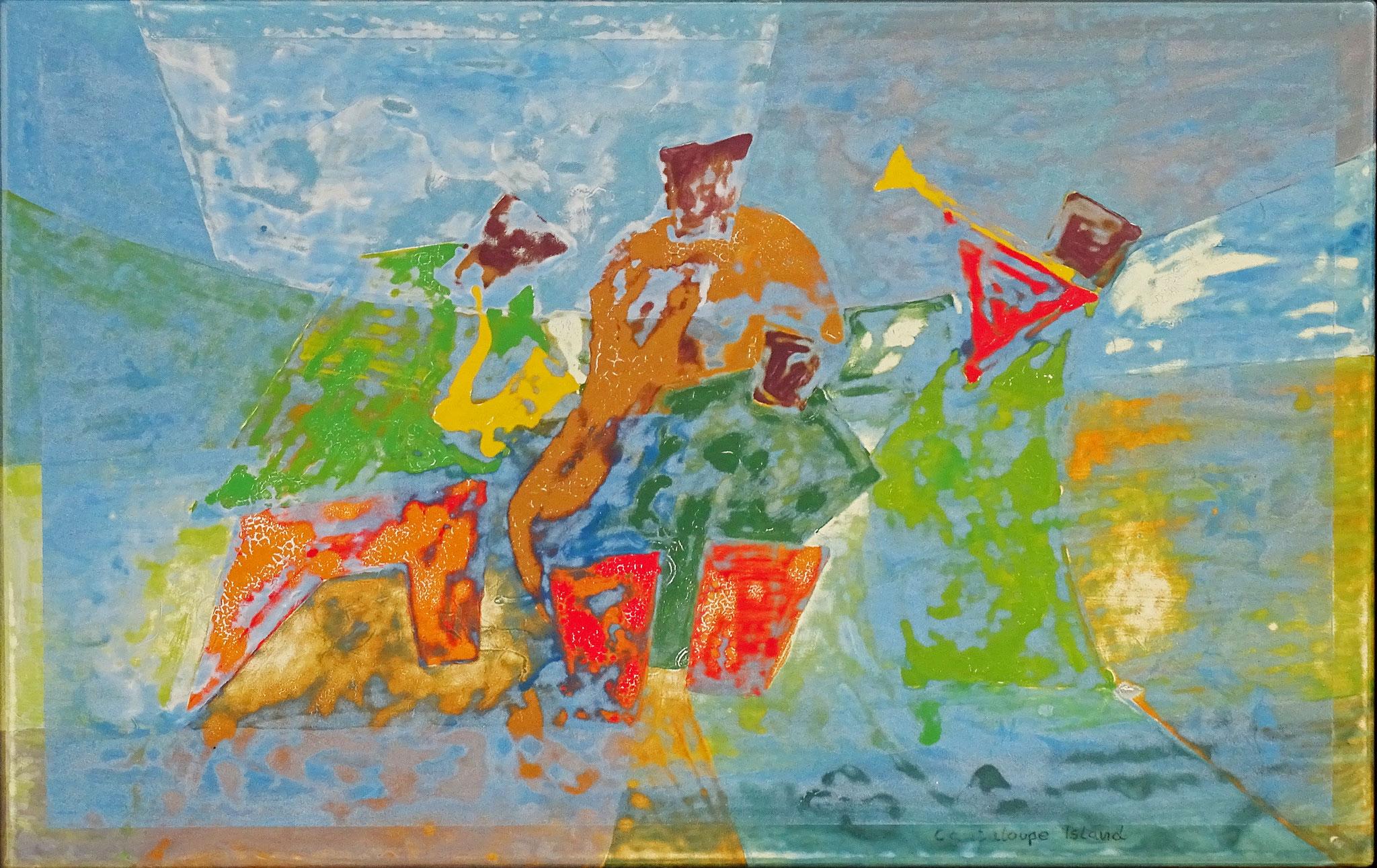 """Cantaloupe Island"" 2016, 60 x 40 cm, opakes und transp.Email,geschliffen"