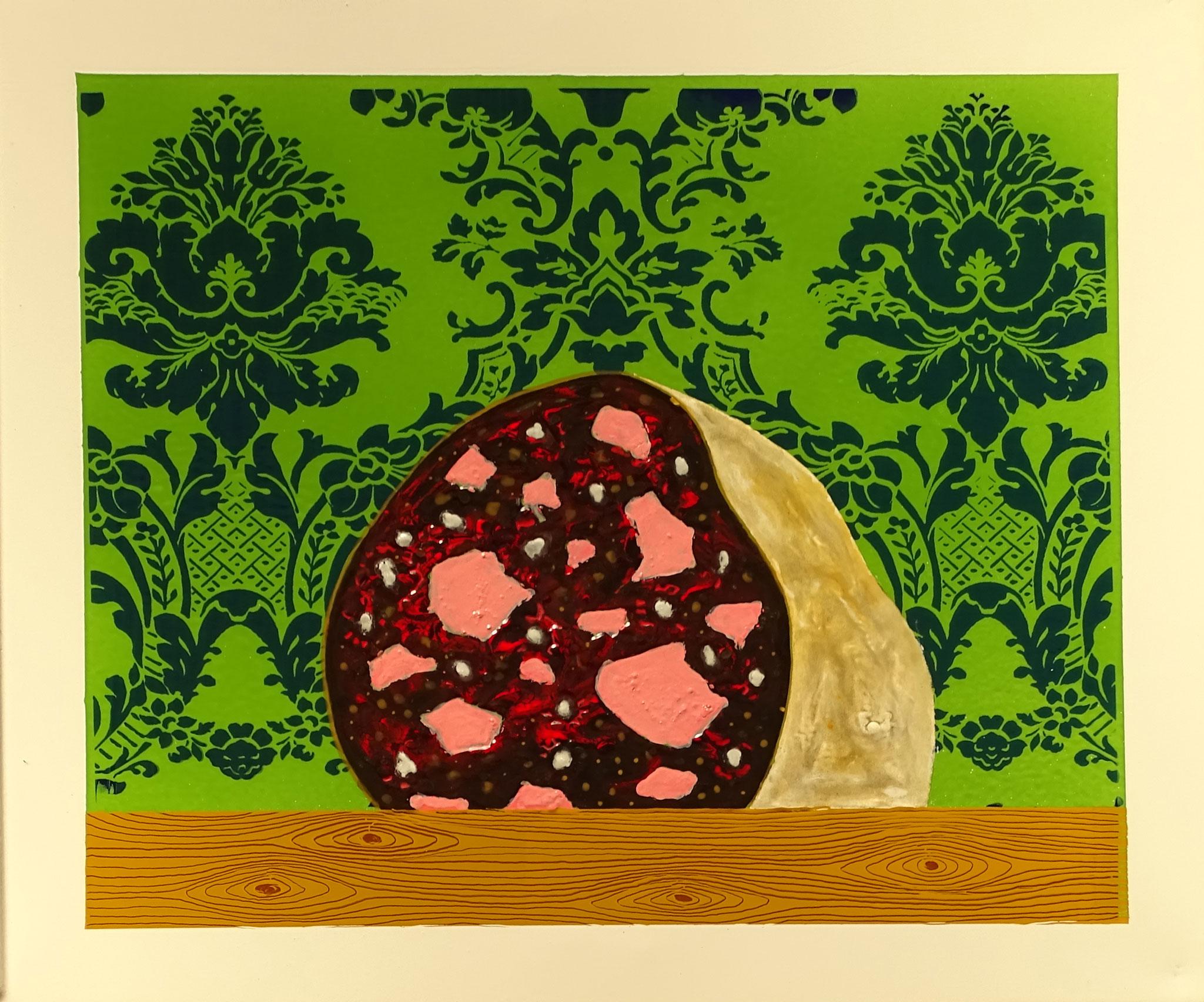 """""""Wurst"""" 2016, 57 x 50 cm, opakes und transp. Email, Siebdruck, 8 Brände"""