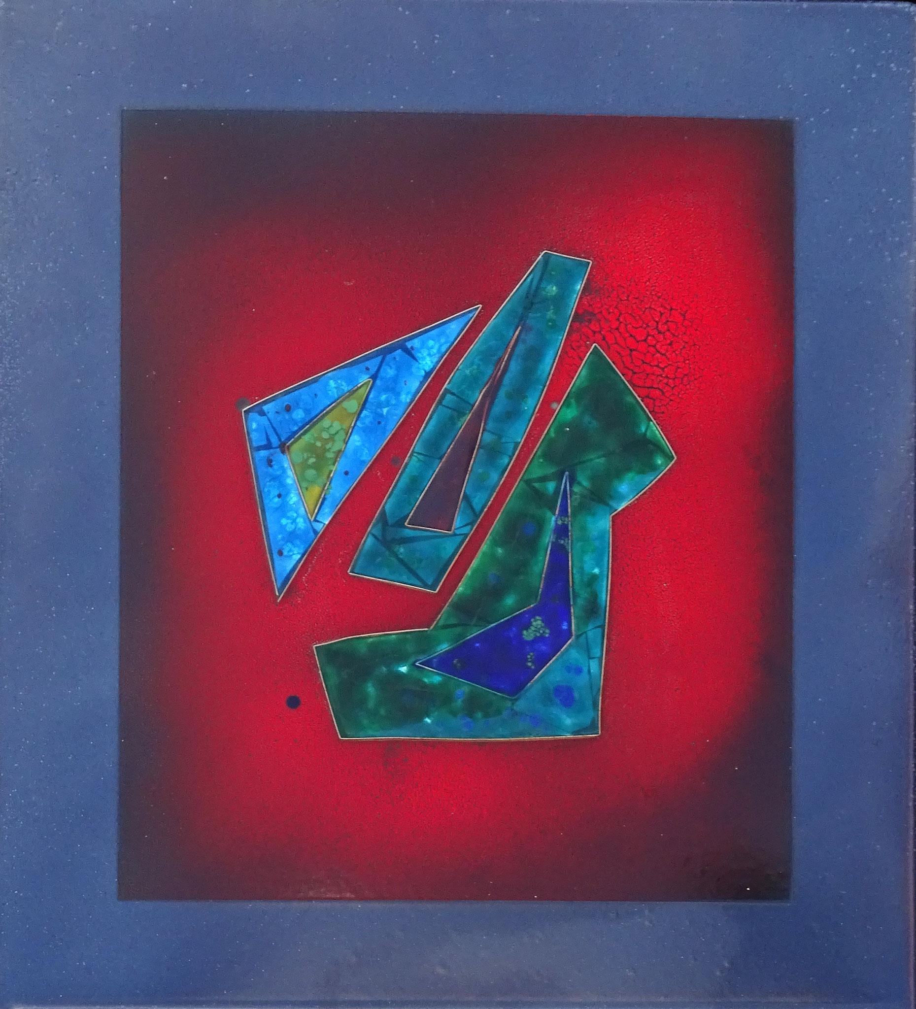 """Vater, Mutter,Kind"" 2015, 50 x 57 cm, Stegemail, Silberstege, transp.und opakes Email"