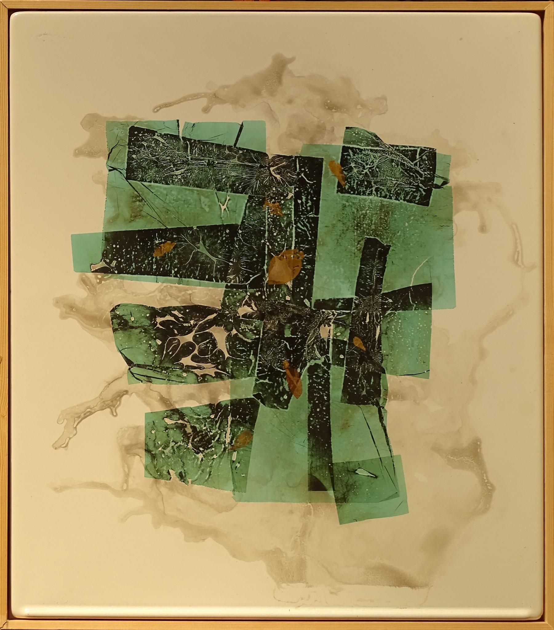 """Gewächs 1"" 2015, 50 x 57 cm, transp. Email, Kupfer, Gold,"