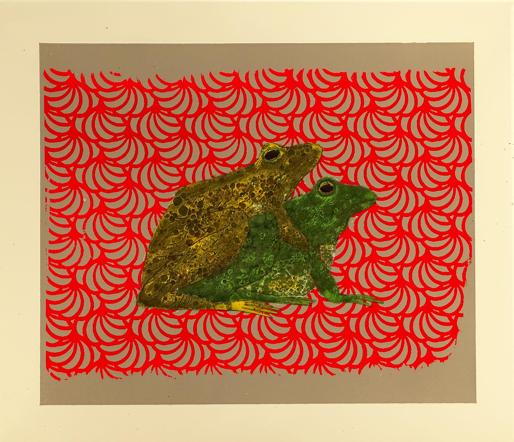 """""""Kopulation"""" 2016, 57 x 50 cm, opakes und transp. Email, Augen Gold, 7 Brände"""