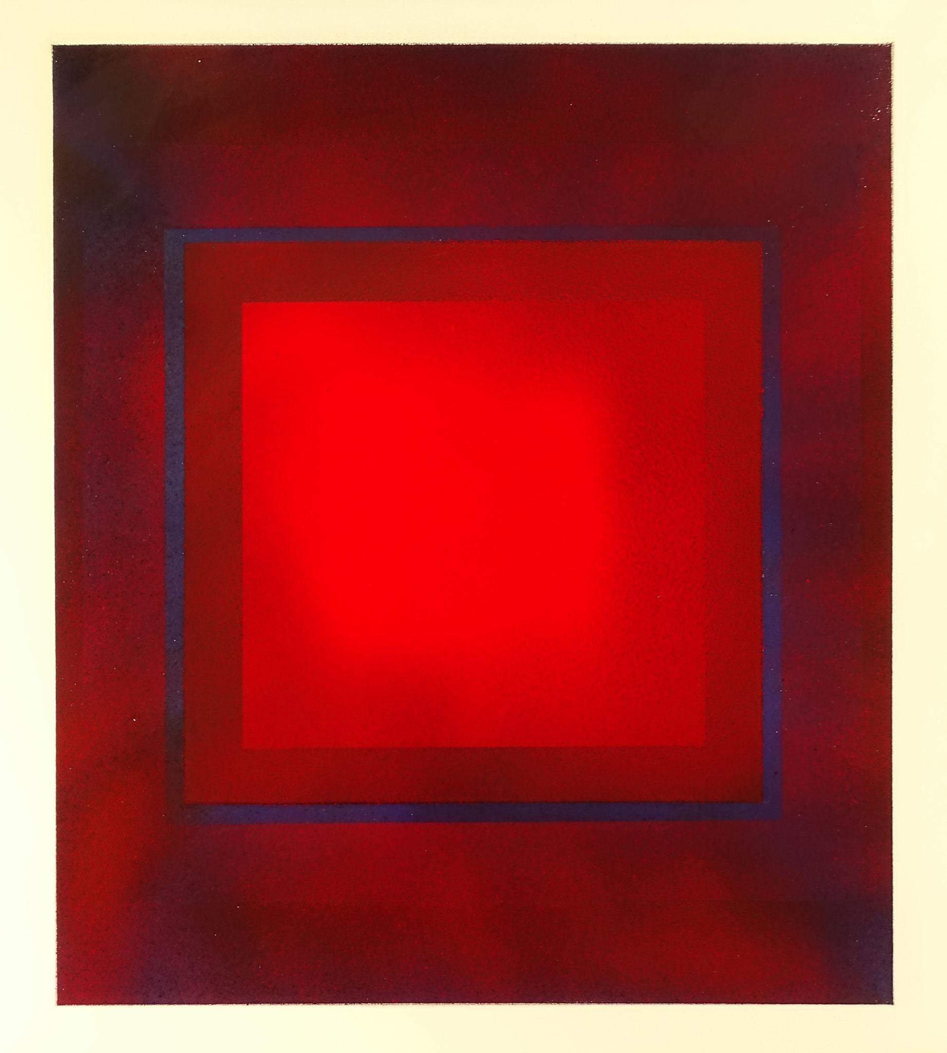 """Rotes Quadrat 3"" 2016, 50 x 57 cm, opakes Email, 4 Brände"