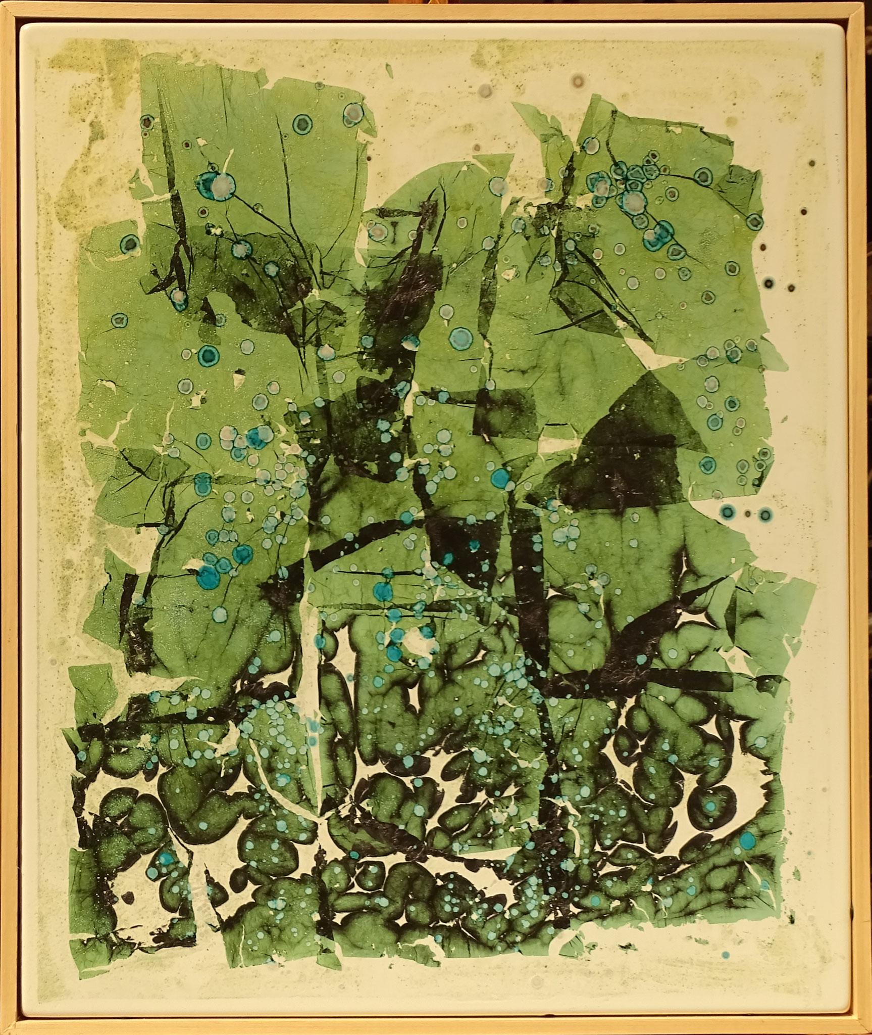 """o.T."" 2015, 50 x 57 cm, Kupfer, transp. Email Fritten,"