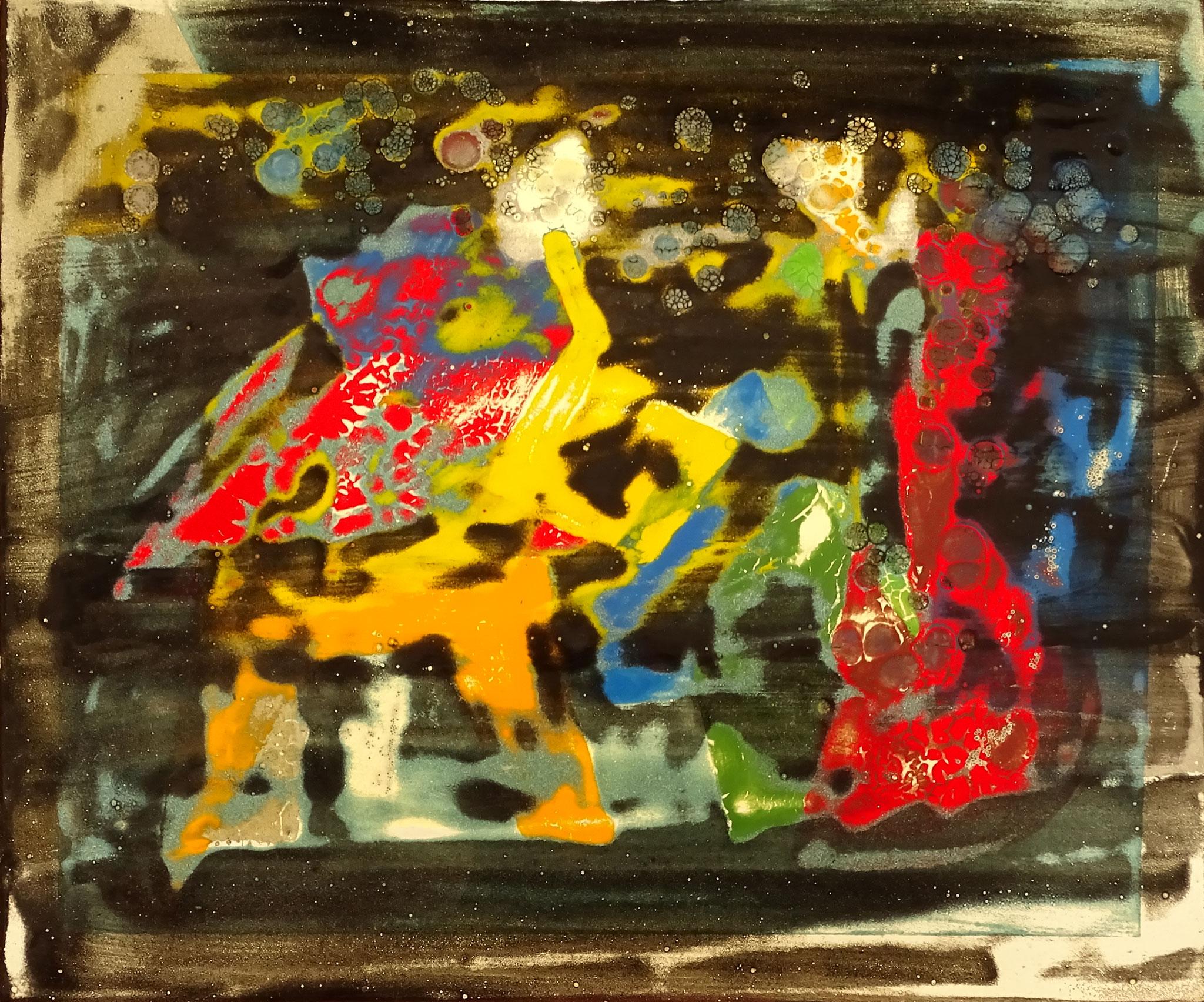 """""""Bebop"""" (Studie) 2016, 27 x 23,5 cm, opakes und transp. Email, geschliffen"""