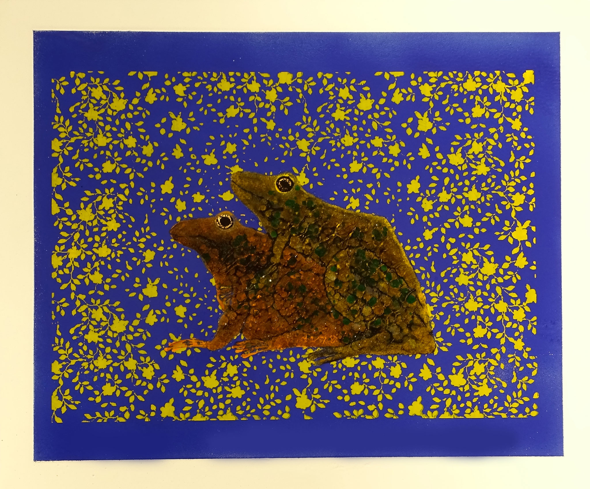 """""""Kopulation"""" 2016, 57 x 50 cm, opakes und transp. Email, Augen Gold, 8 Brände"""