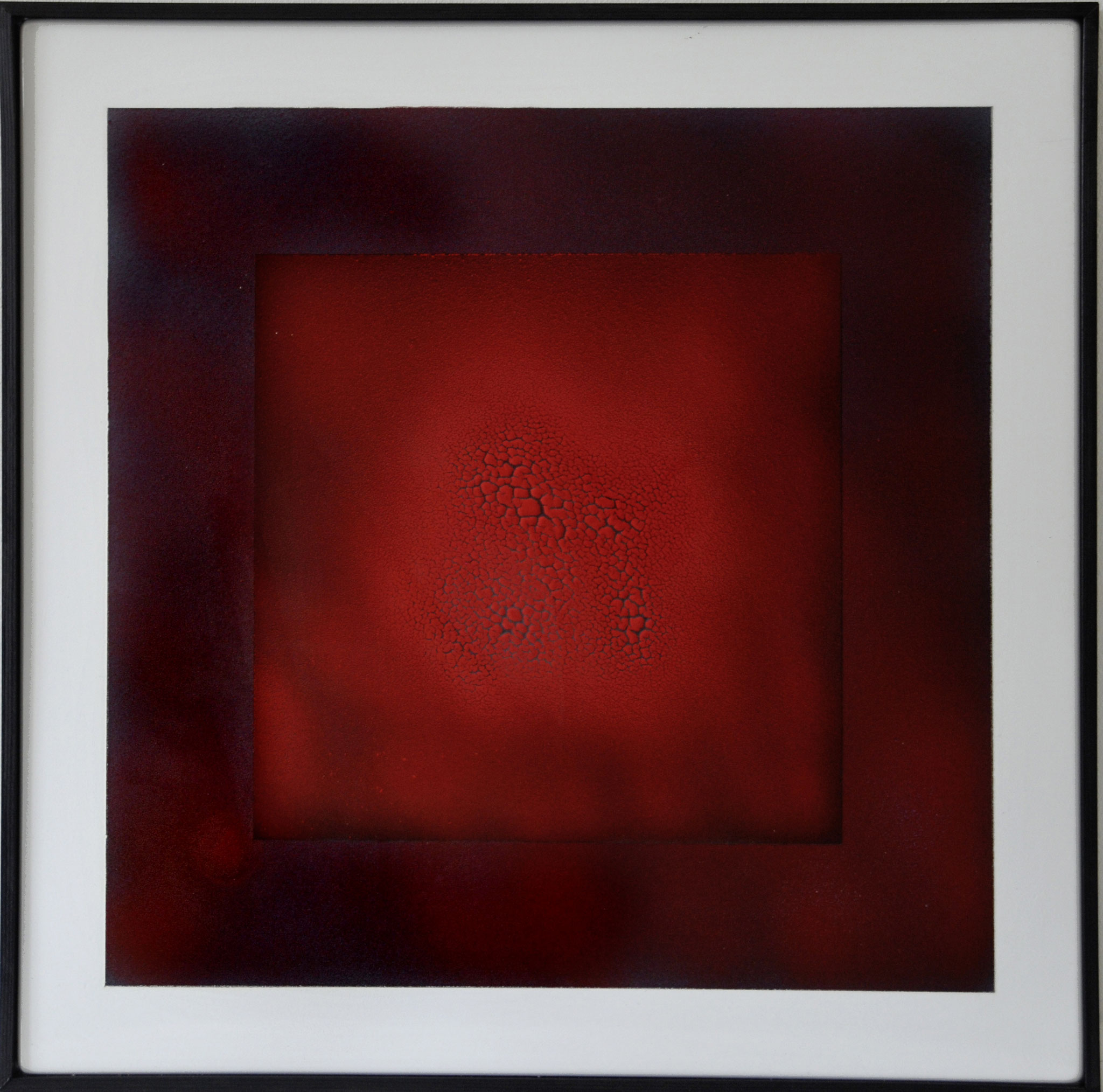 """Rotes Quadrat 1"" 2014, 56 x 57 cm, opakes Email, 5 Brände"
