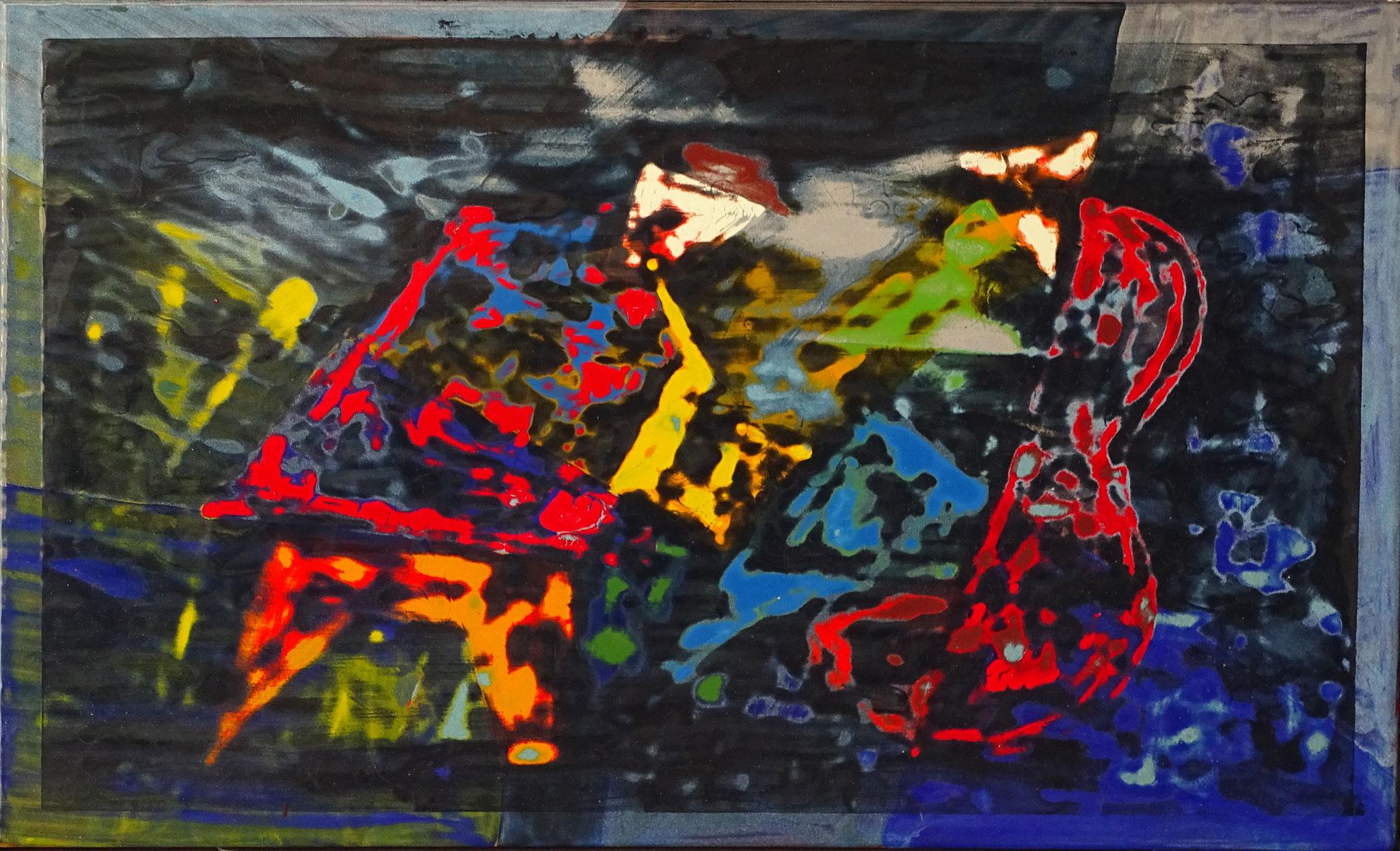 """""""Bebop"""" 2016, 60 x 40 cm, opakes und transp. Email,geschliffen"""