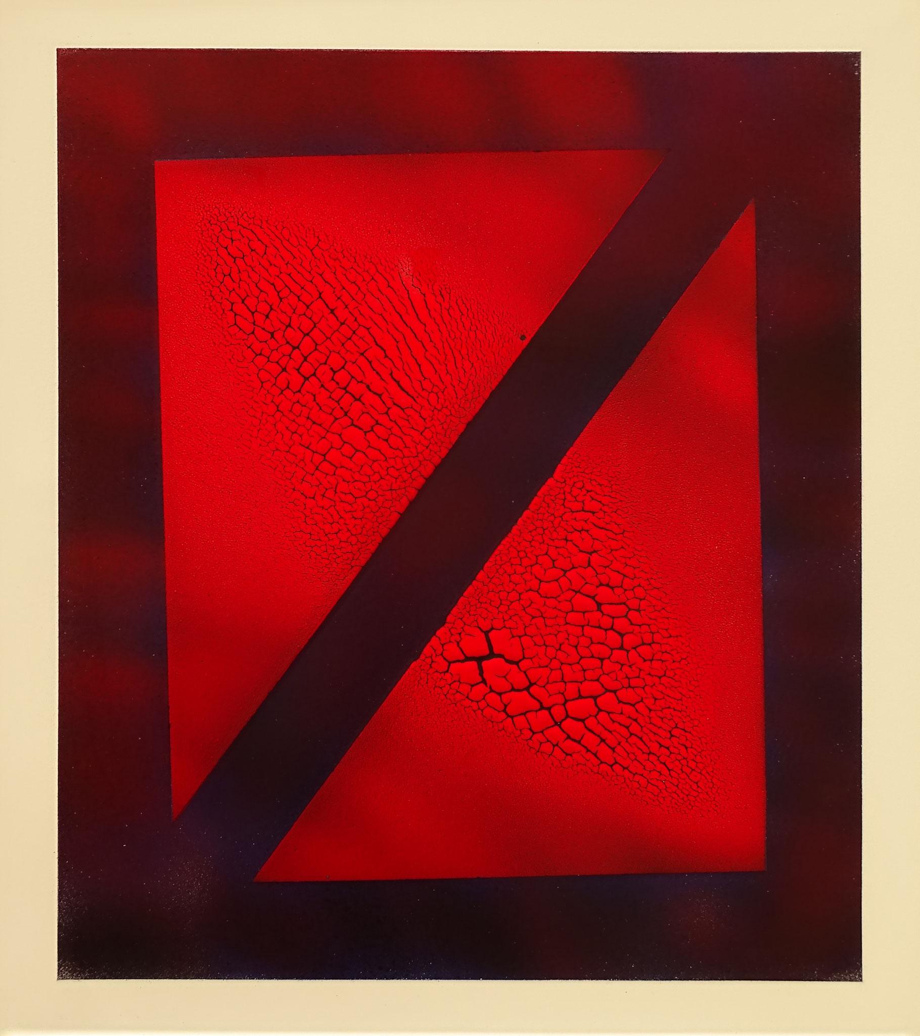"""Halb und halb"" 2016, 50 x 57 cm, opakes Email, 5 Brände"