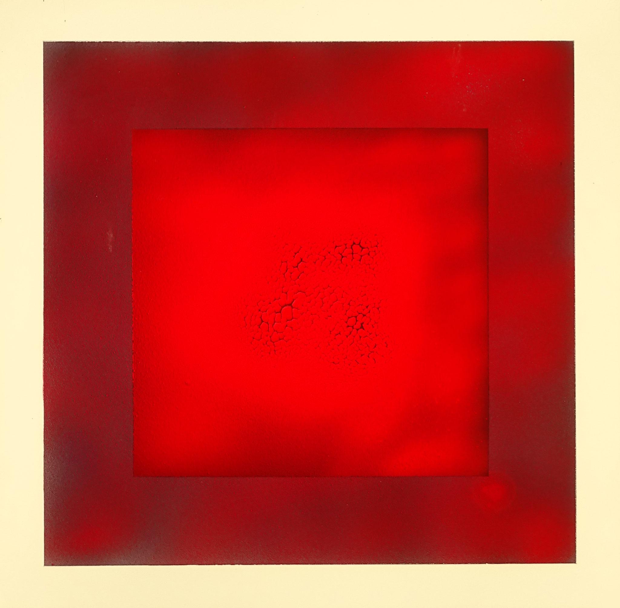 """Rotes Quadrat 2"" 2014, 56 x 57 cm, opakes Email, 5 Brände"
