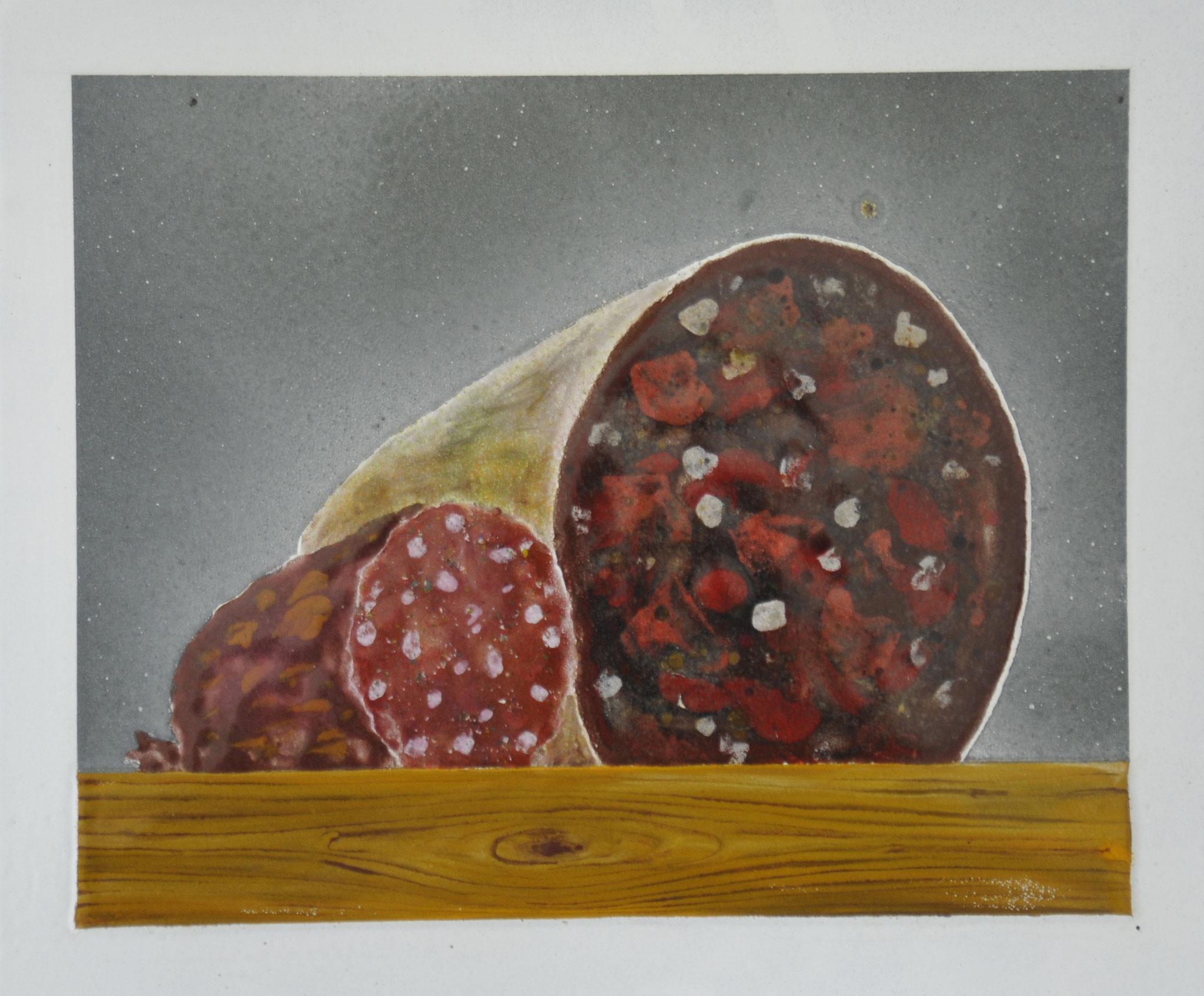 """""""Wurst"""" 2015, 27 x 23,5 cm, opkes und transp. Email, 5 Brände"""