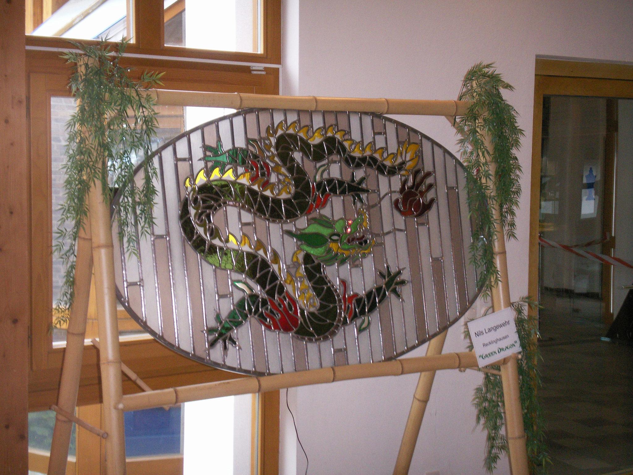 """Meisterstück """"Green Dragon"""" von Glasermeister Nils Langewehr"""