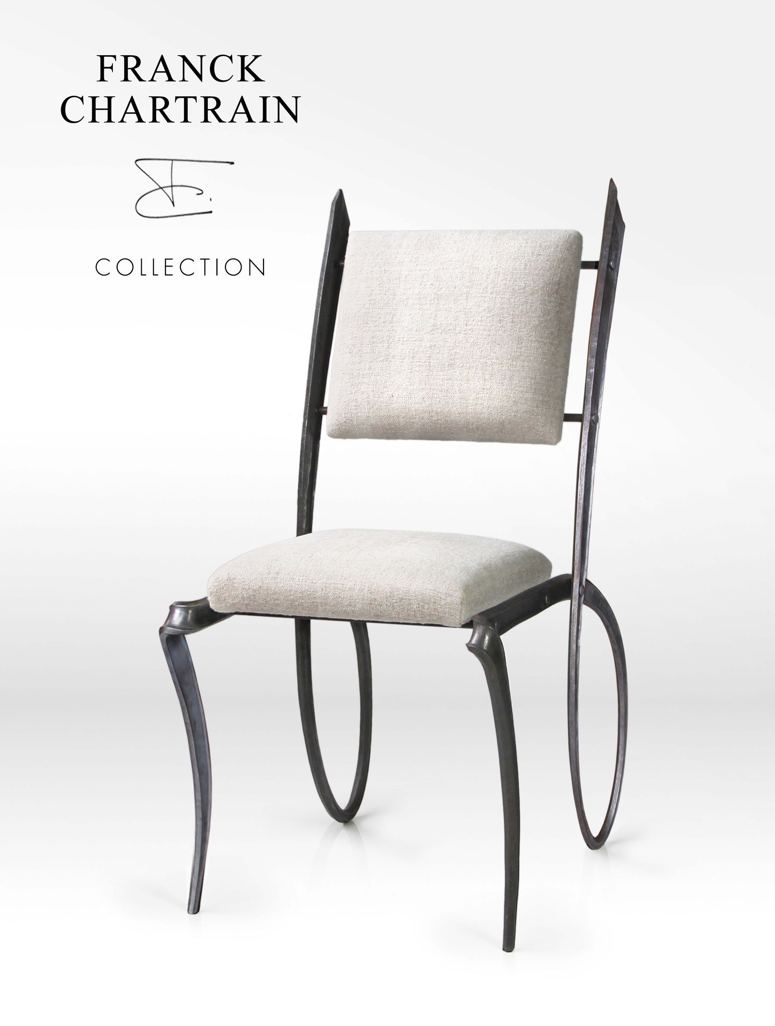 FORGE RUBAN CHAIR Wrought iron, fabric