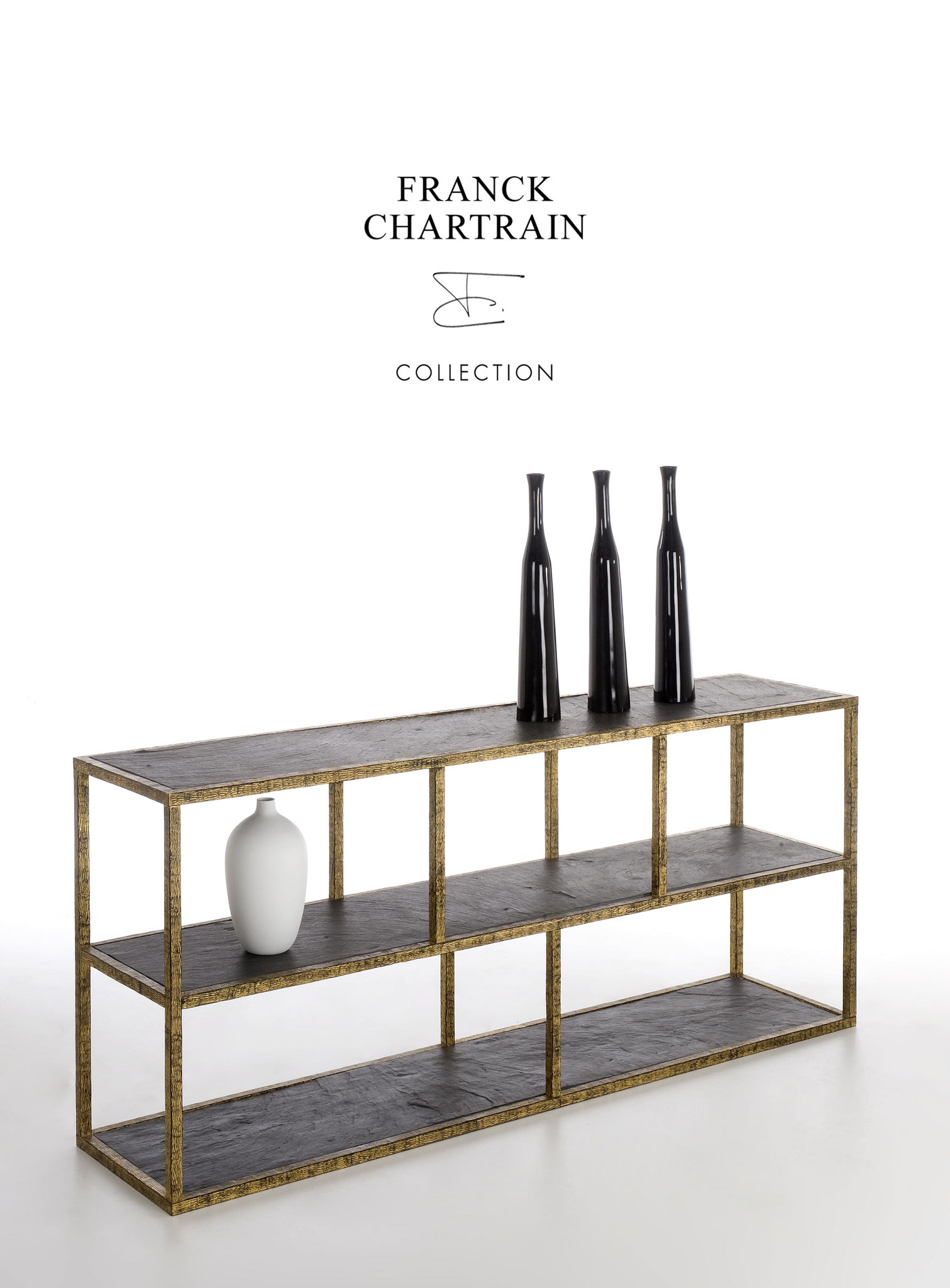 EPURE CONSOLE STRATE Gold leaf, wrought iron, slate
