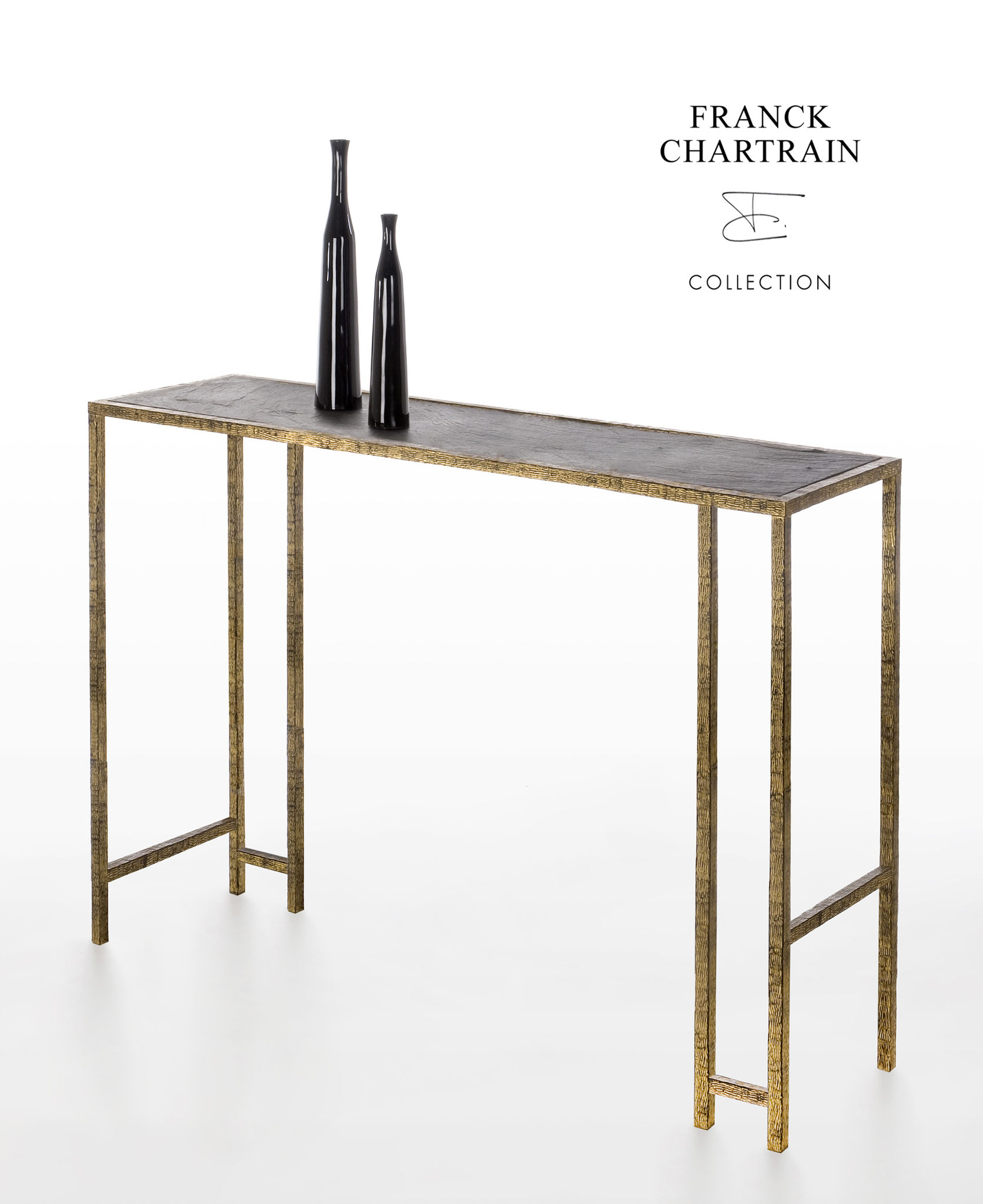 EPURE CONSOLE Gold leaf, wrought iron, slate