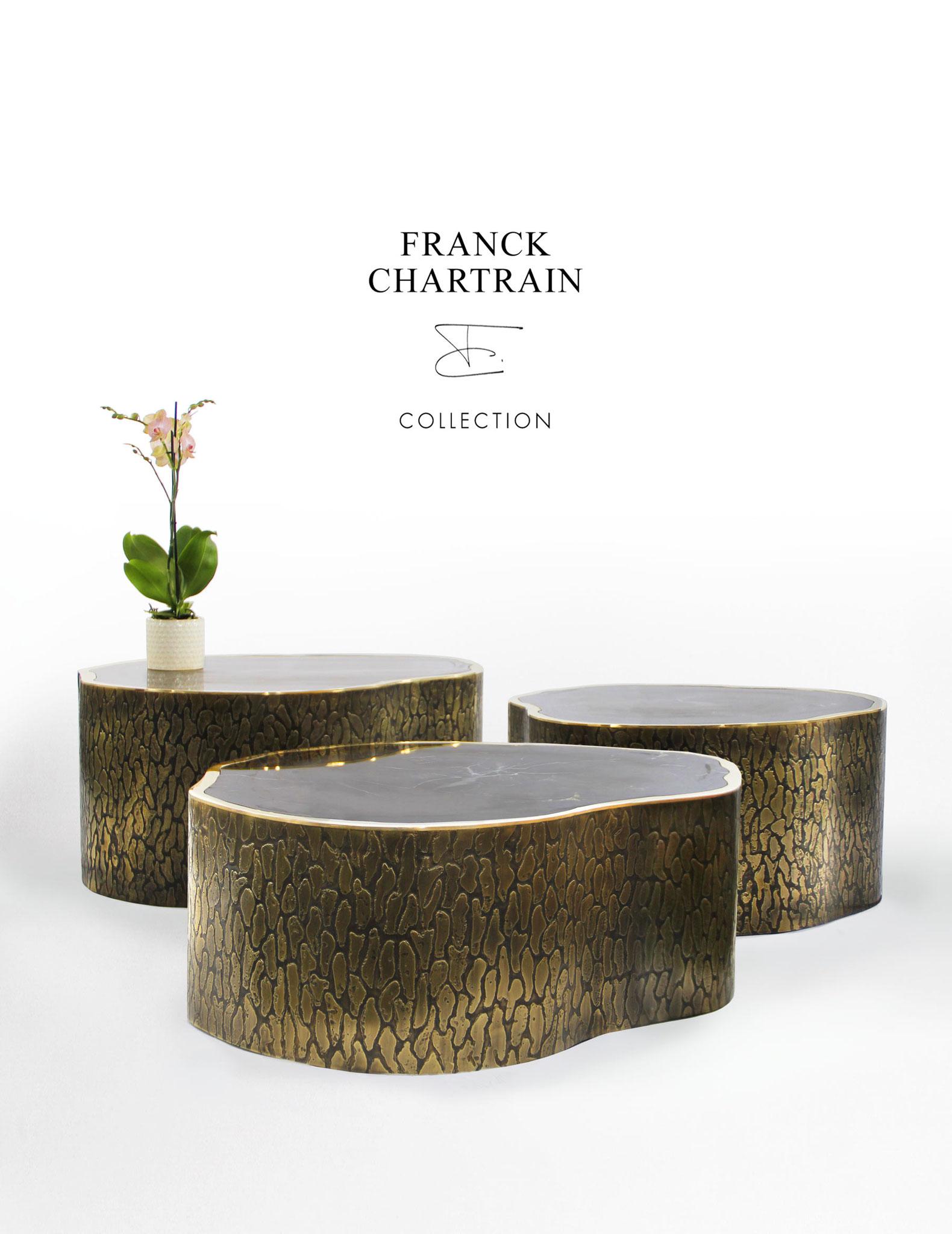 TABLES MAGNOLIA Bronze texturé, bronze poli, bois silicifié