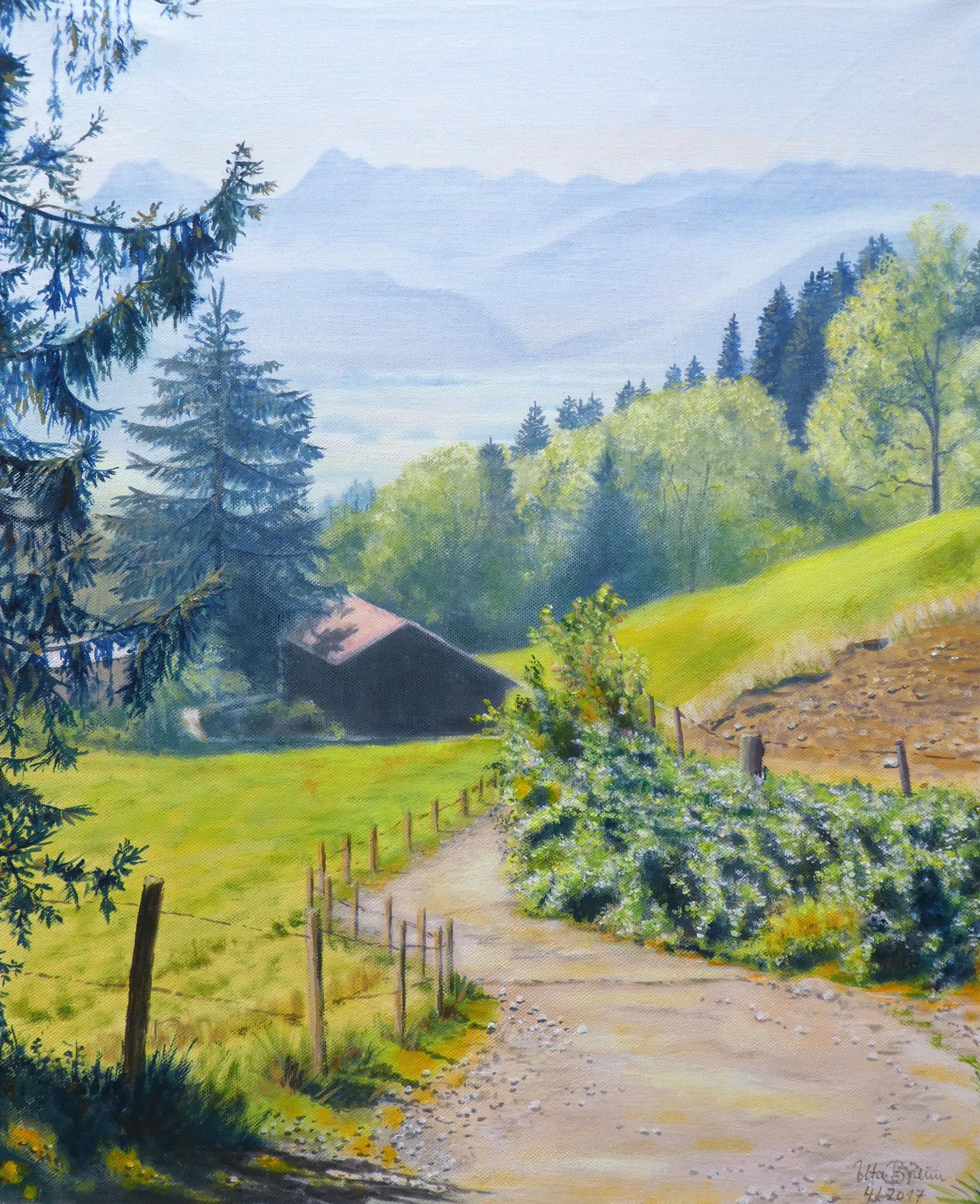 Wanderwege Ofterschwang Wurzelhütte (50 x 60)