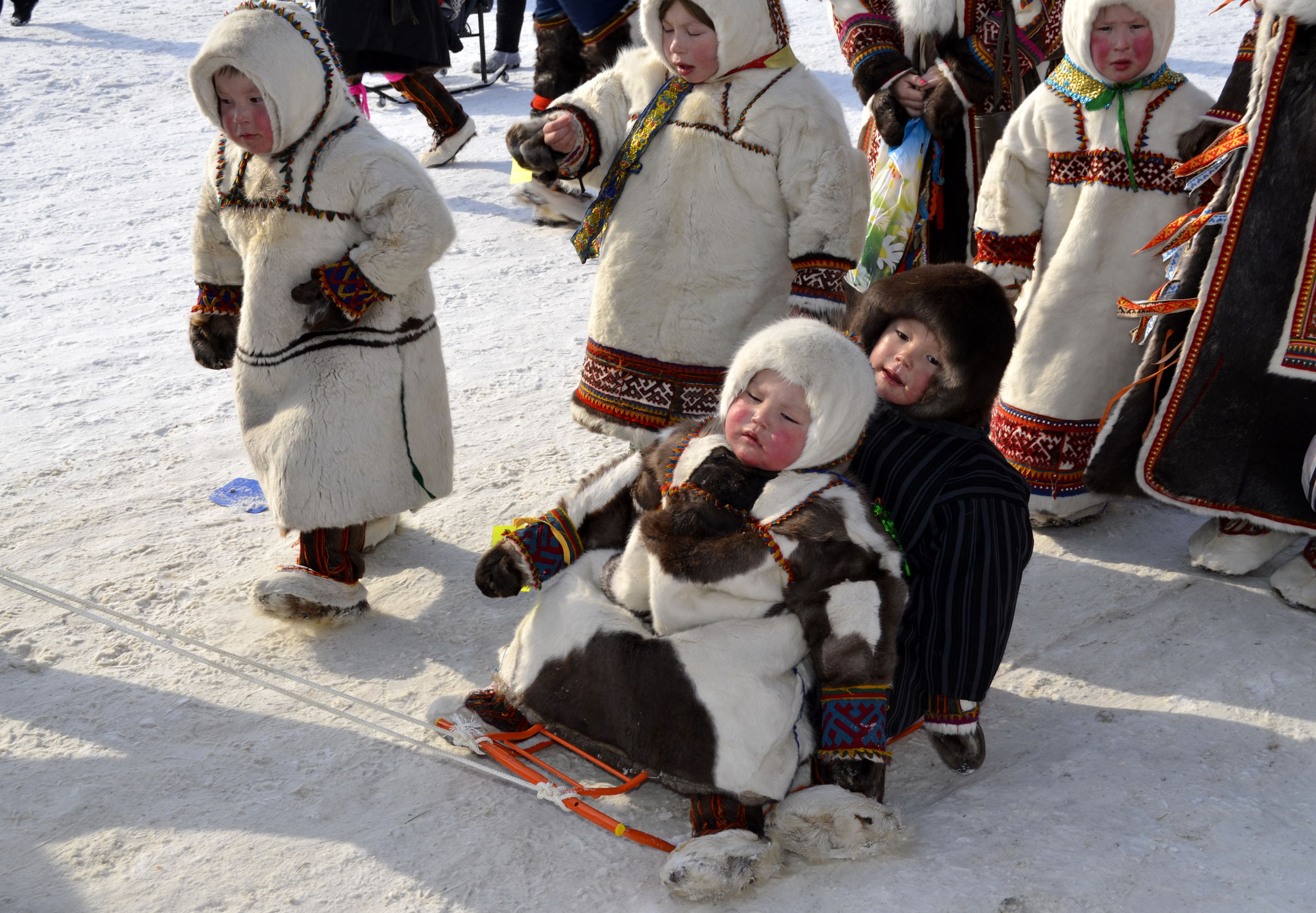 Сhildren of nomads in national clothes