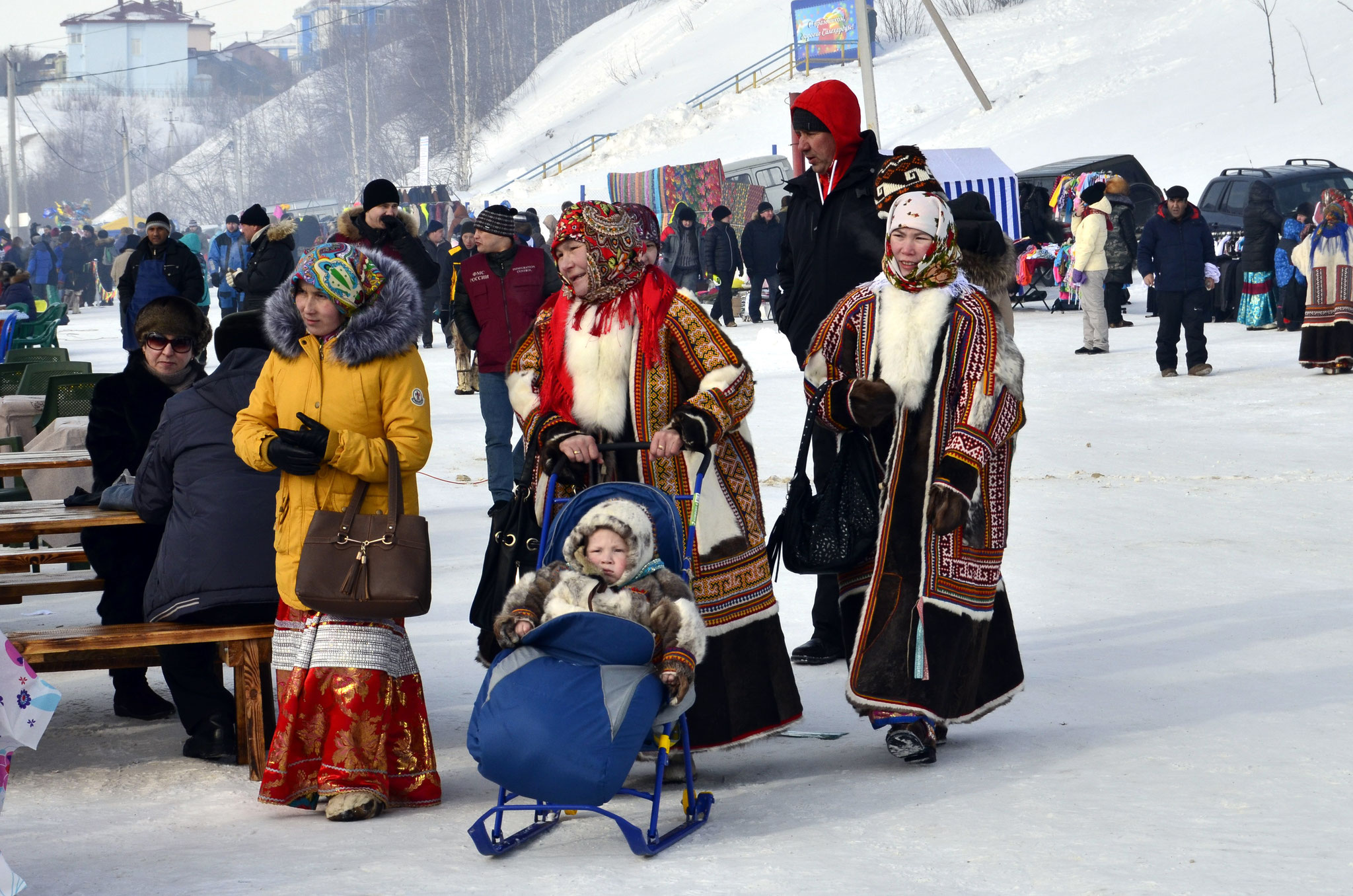 The reindeer herders in national clothes
