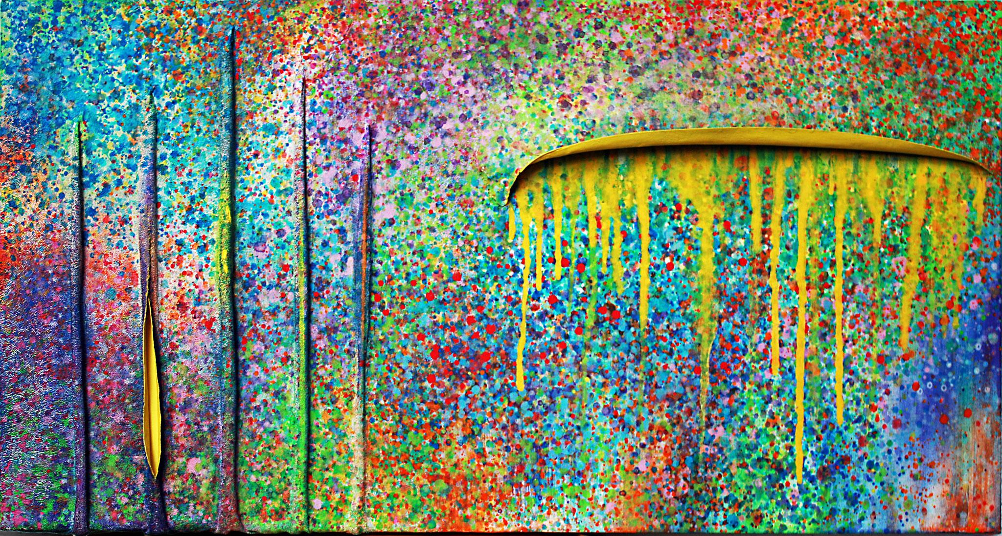 miel et fleurs, Acrylauf Leinwand und Textil, 50x100, Christopher Diehl