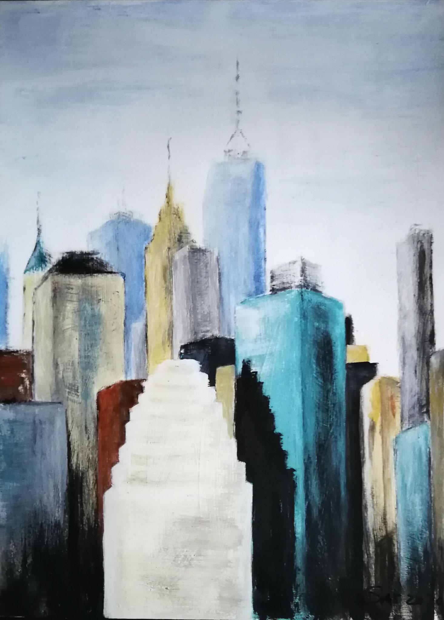 Turmbau zu NY, Acryl auf Papier 48x64. Sigrid Müller-Stahl