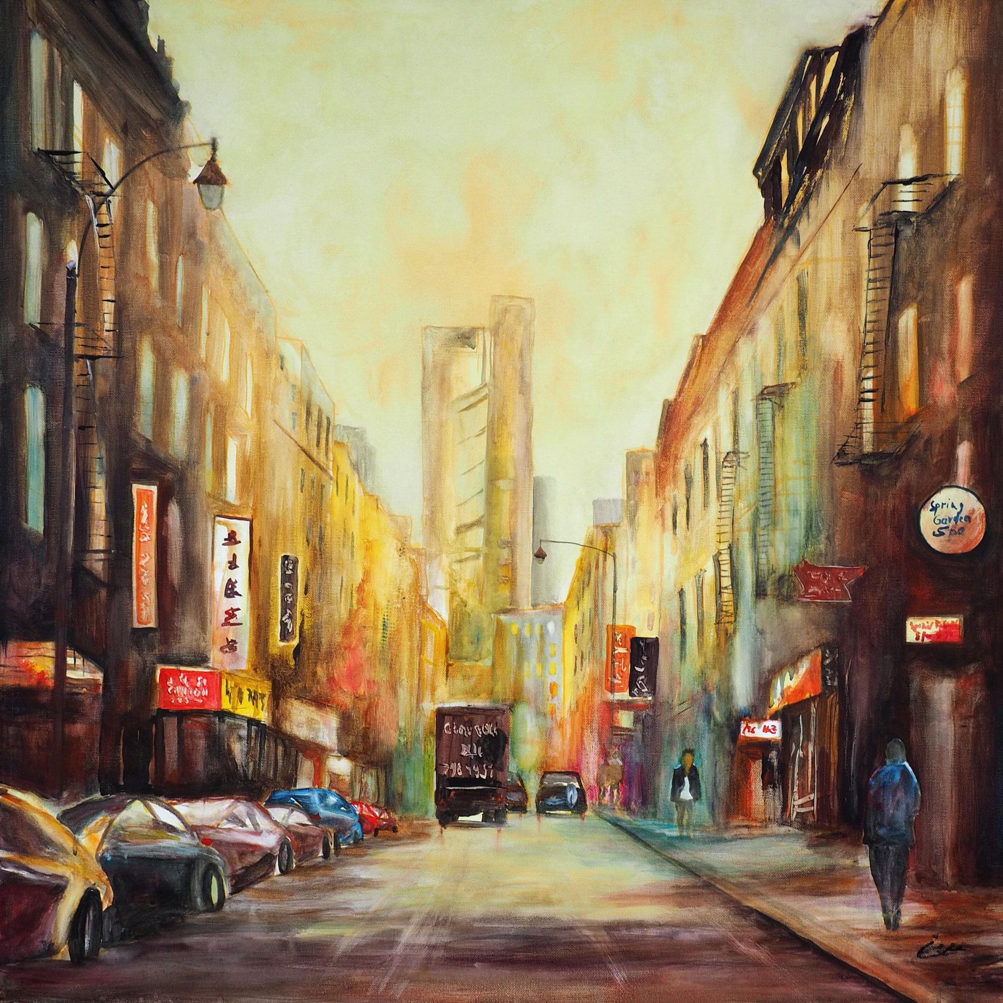 Chinatown, Aquacrylic auf Keilrahmen, 80x80 cm , Elvira Walther