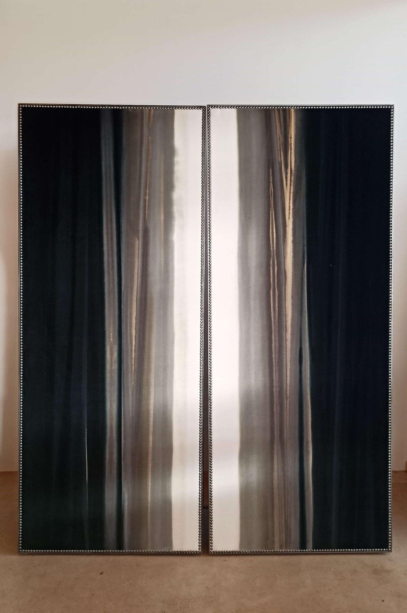 """Paravent contemporain """"Demi-deuil"""" © Atelier Marlène Vidal"""