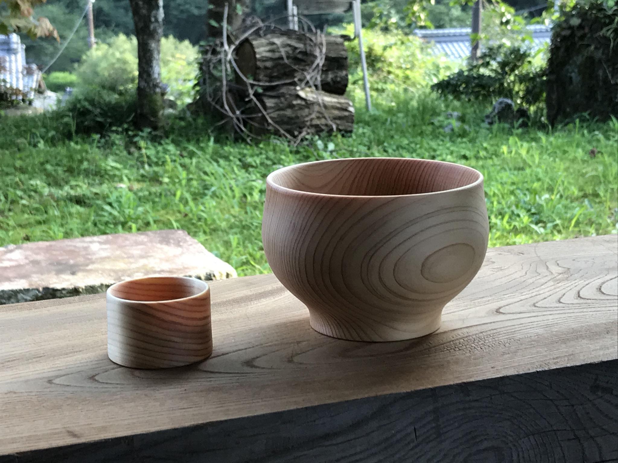 癒しの木工教室 ヒノキの猪口とお椀