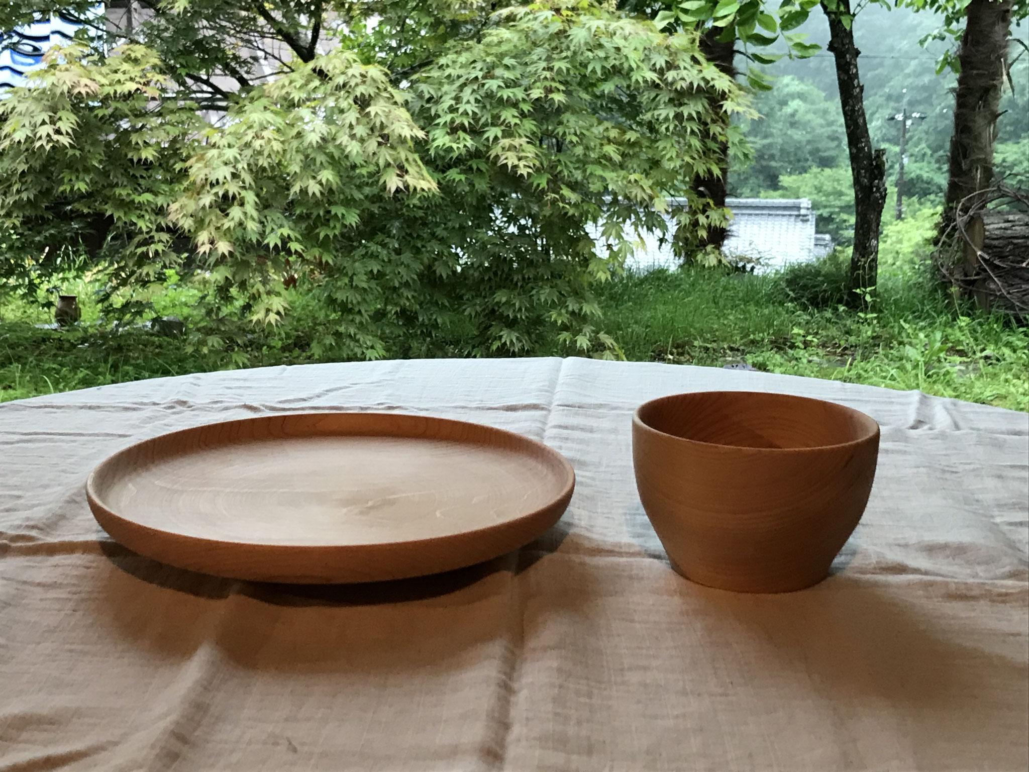 癒しの木工教室作品 ヒノキの椀とお皿