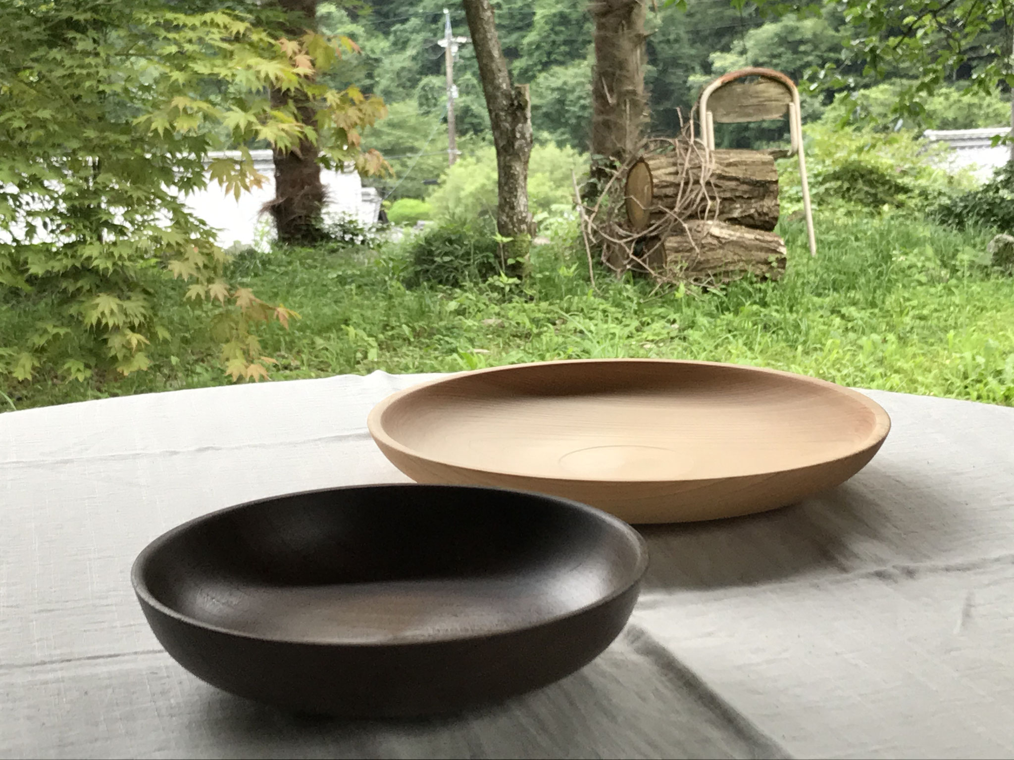 癒しの木工教室 ヒノキとケヤキの皿