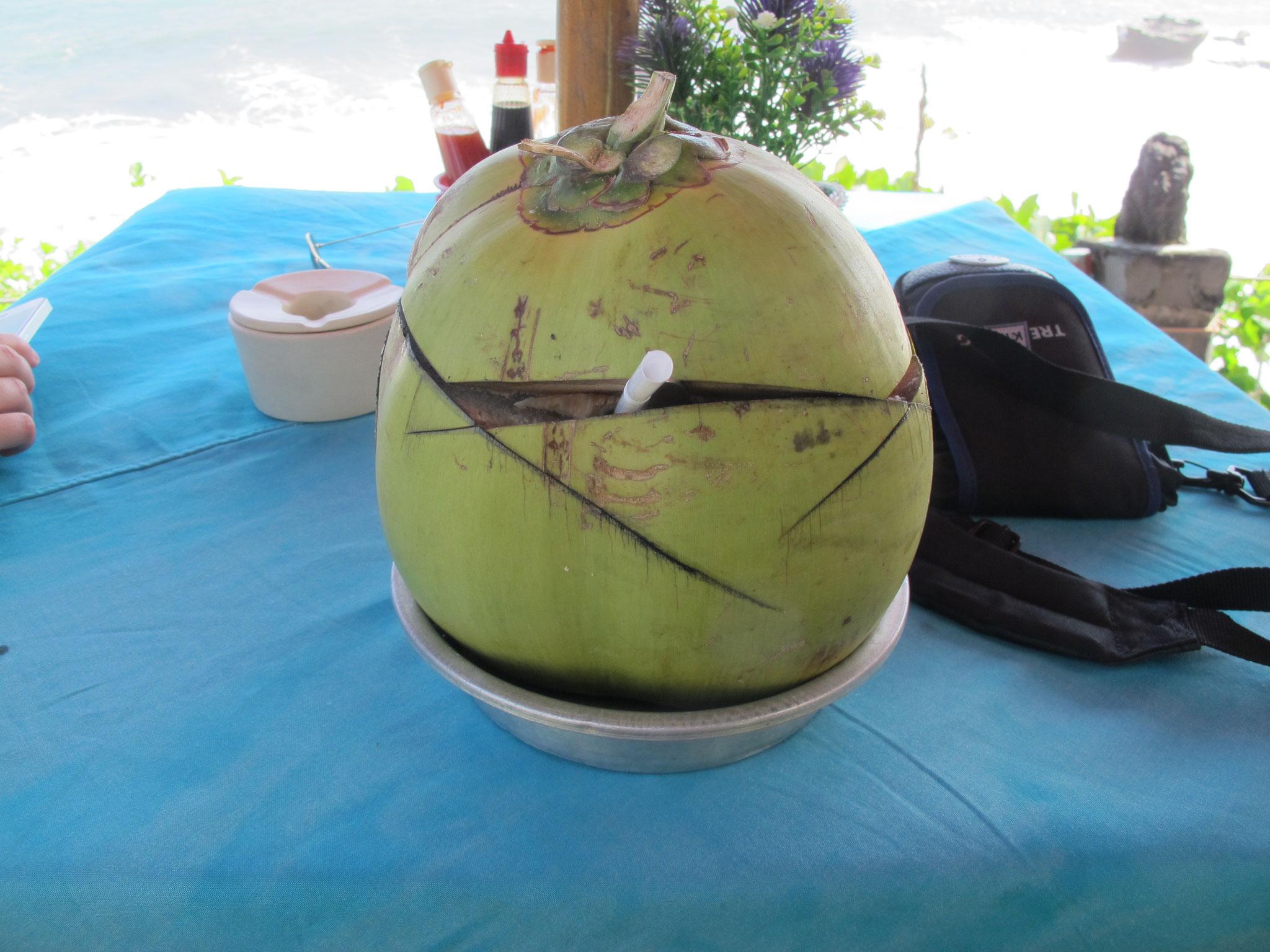 Los cocos de Malasia o Bali, una bebida fresca y abundante. Eso sí, aun no descubrimos el método para abrir un coco y eso que estuvimos casi una hora intentándolo.